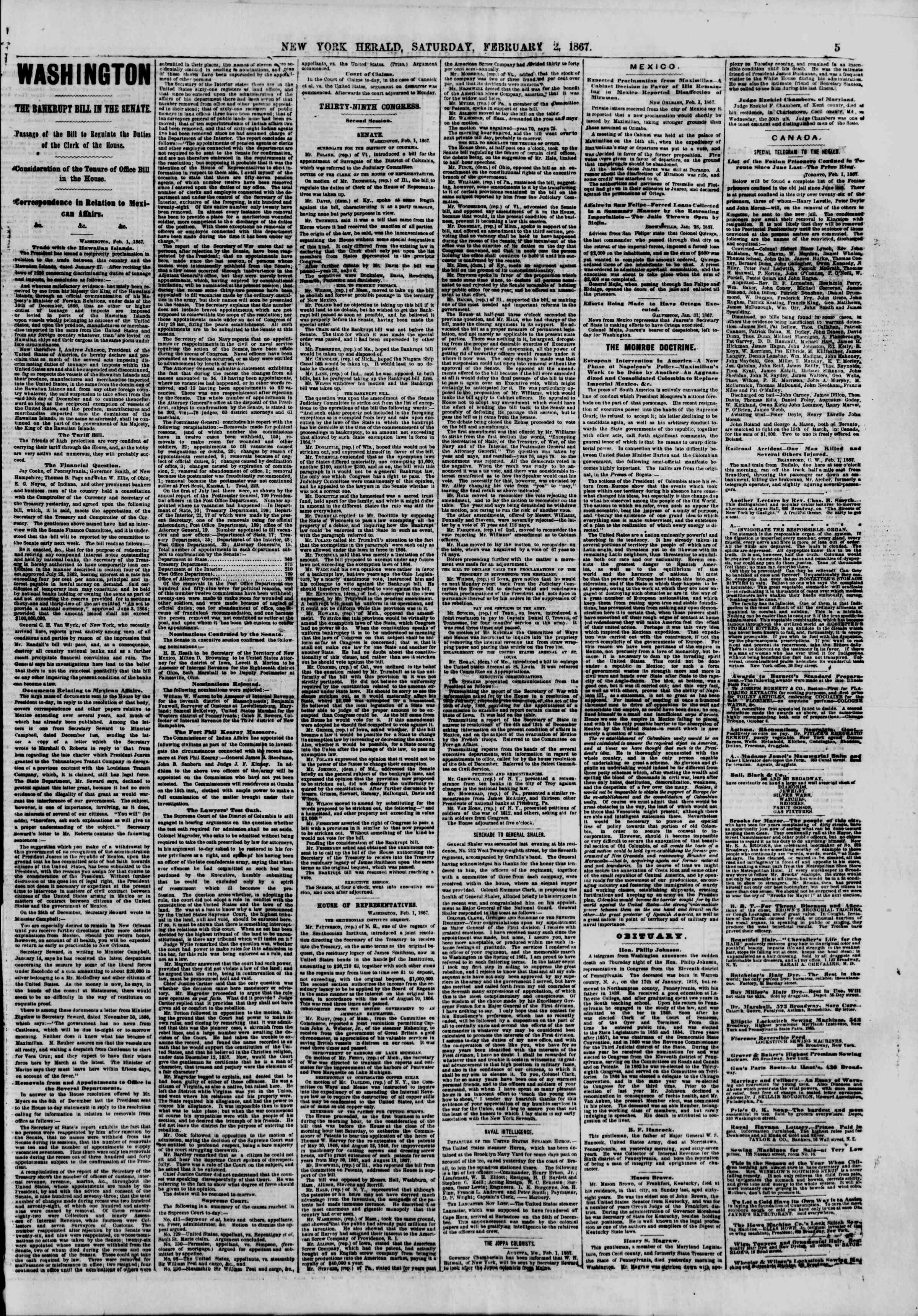 Newspaper of The New York Herald dated February 2, 1867 Page 5