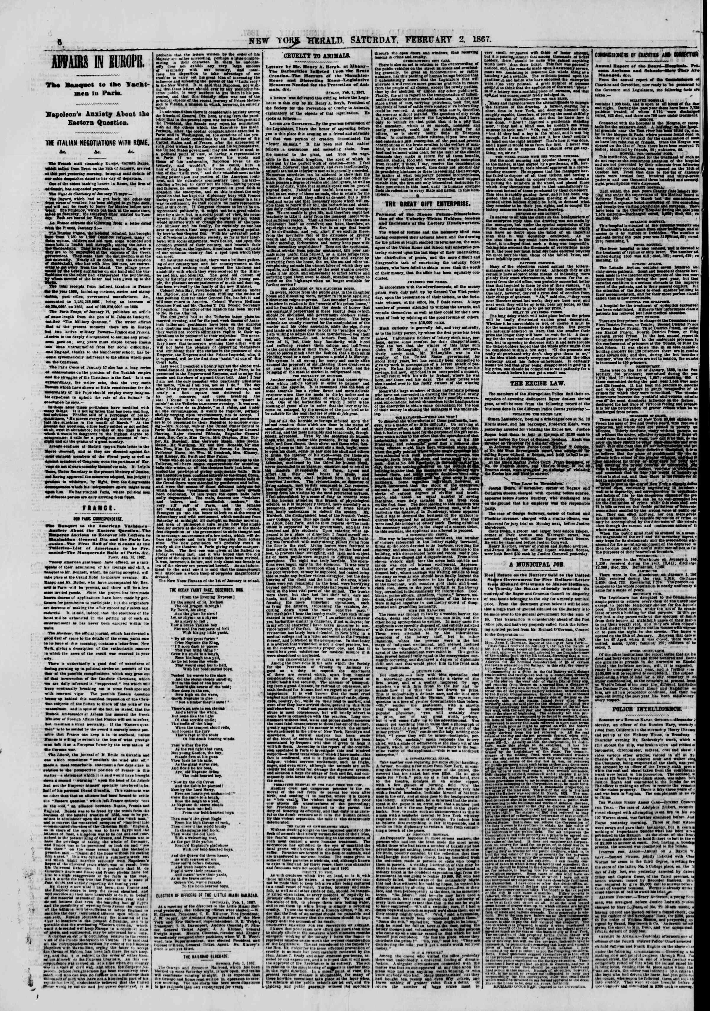 Newspaper of The New York Herald dated February 2, 1867 Page 6