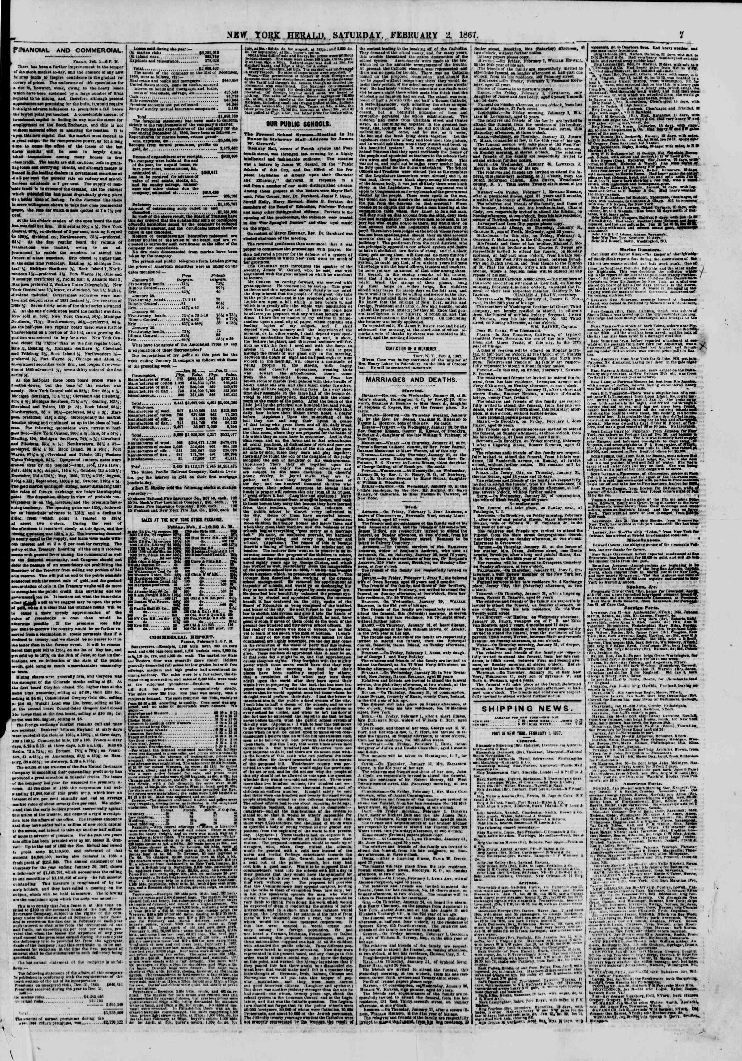Newspaper of The New York Herald dated February 2, 1867 Page 7