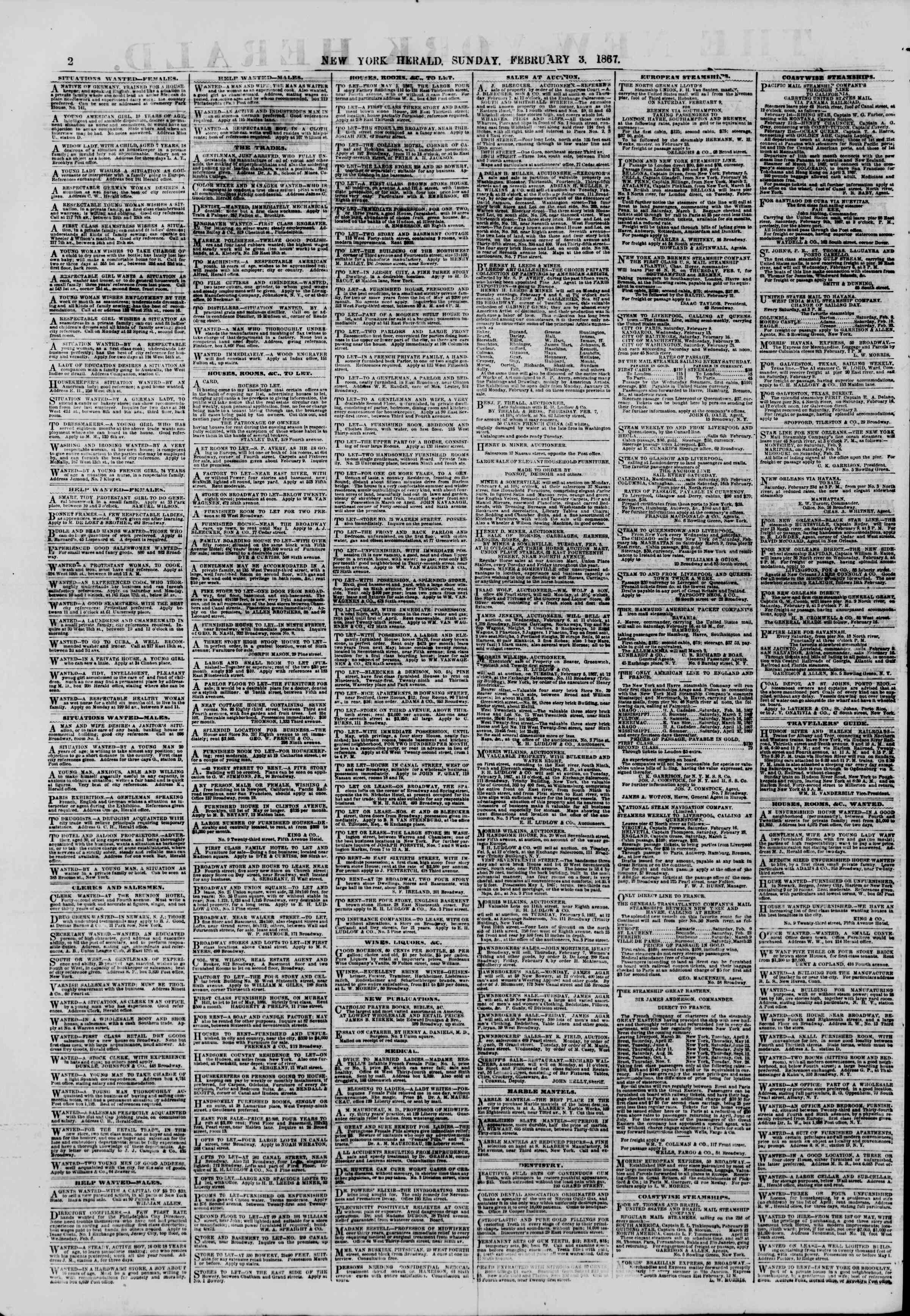 Newspaper of The New York Herald dated 3 Şubat 1867 Page 2