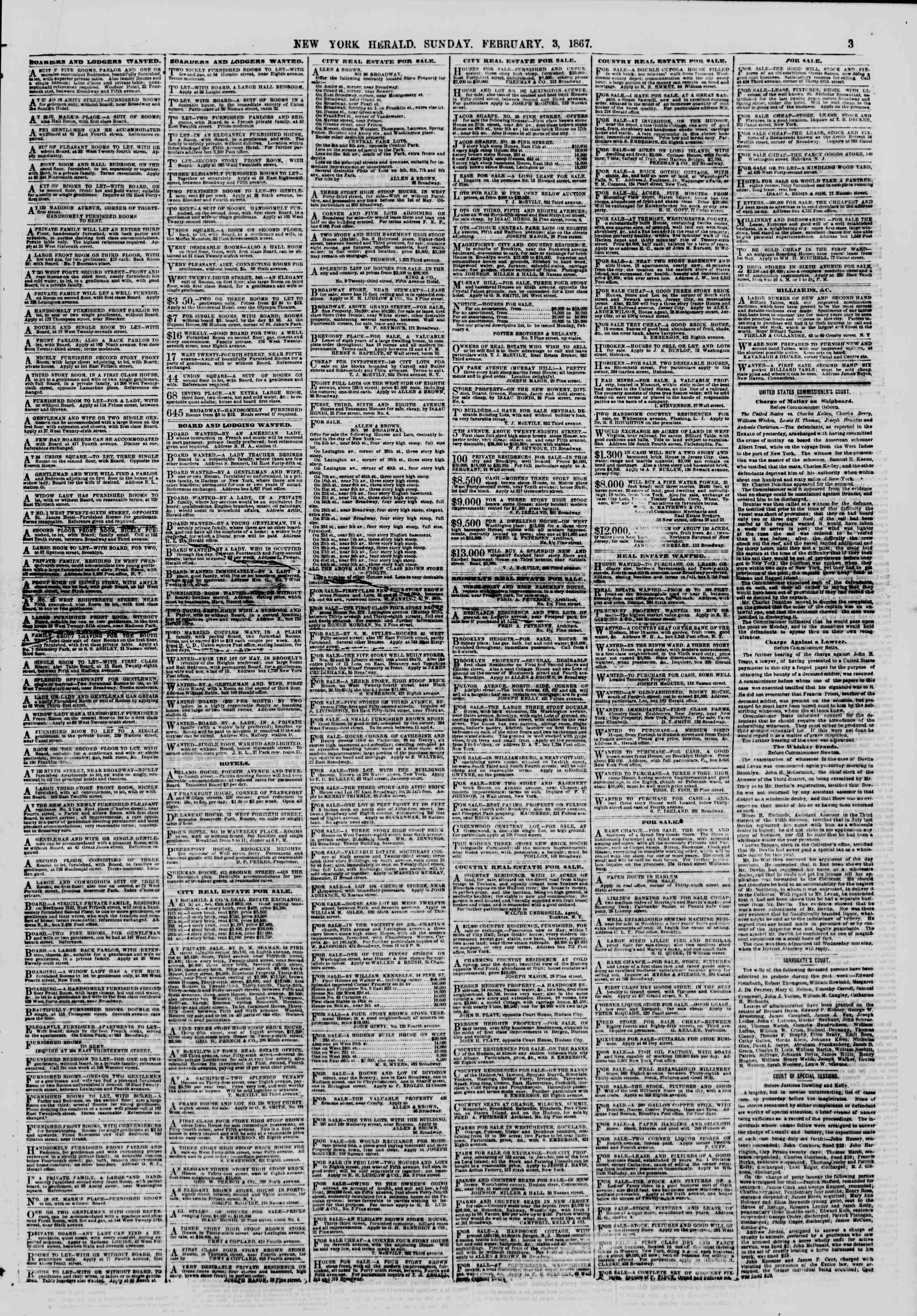 Newspaper of The New York Herald dated February 3, 1867 Page 3