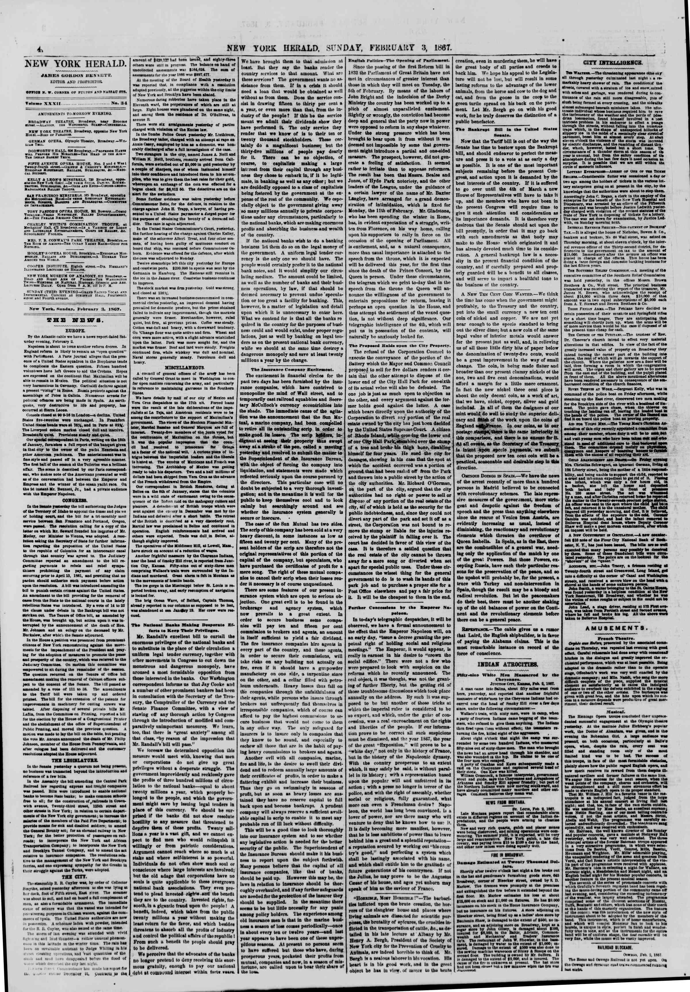 Newspaper of The New York Herald dated February 3, 1867 Page 4