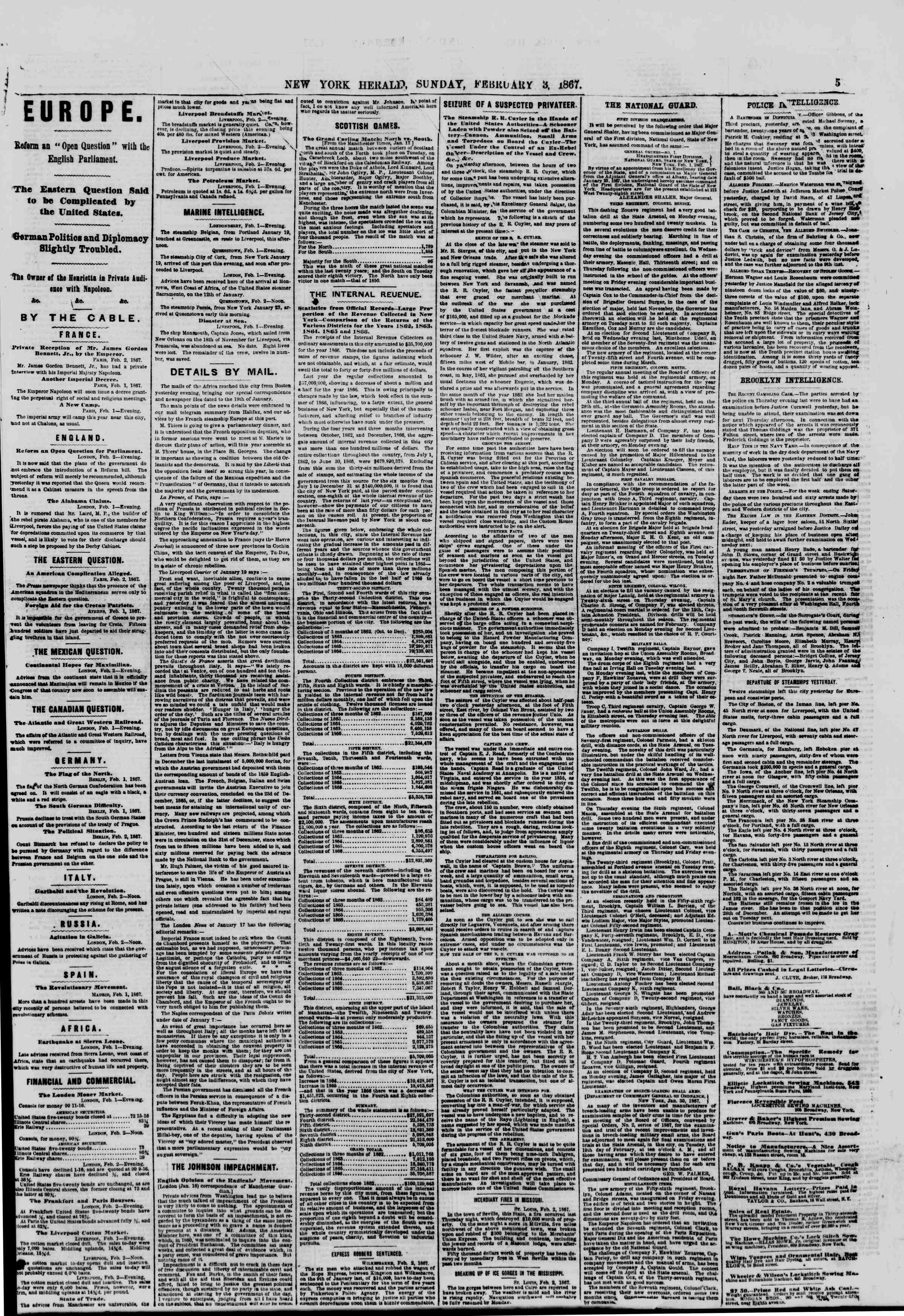 Newspaper of The New York Herald dated February 3, 1867 Page 5