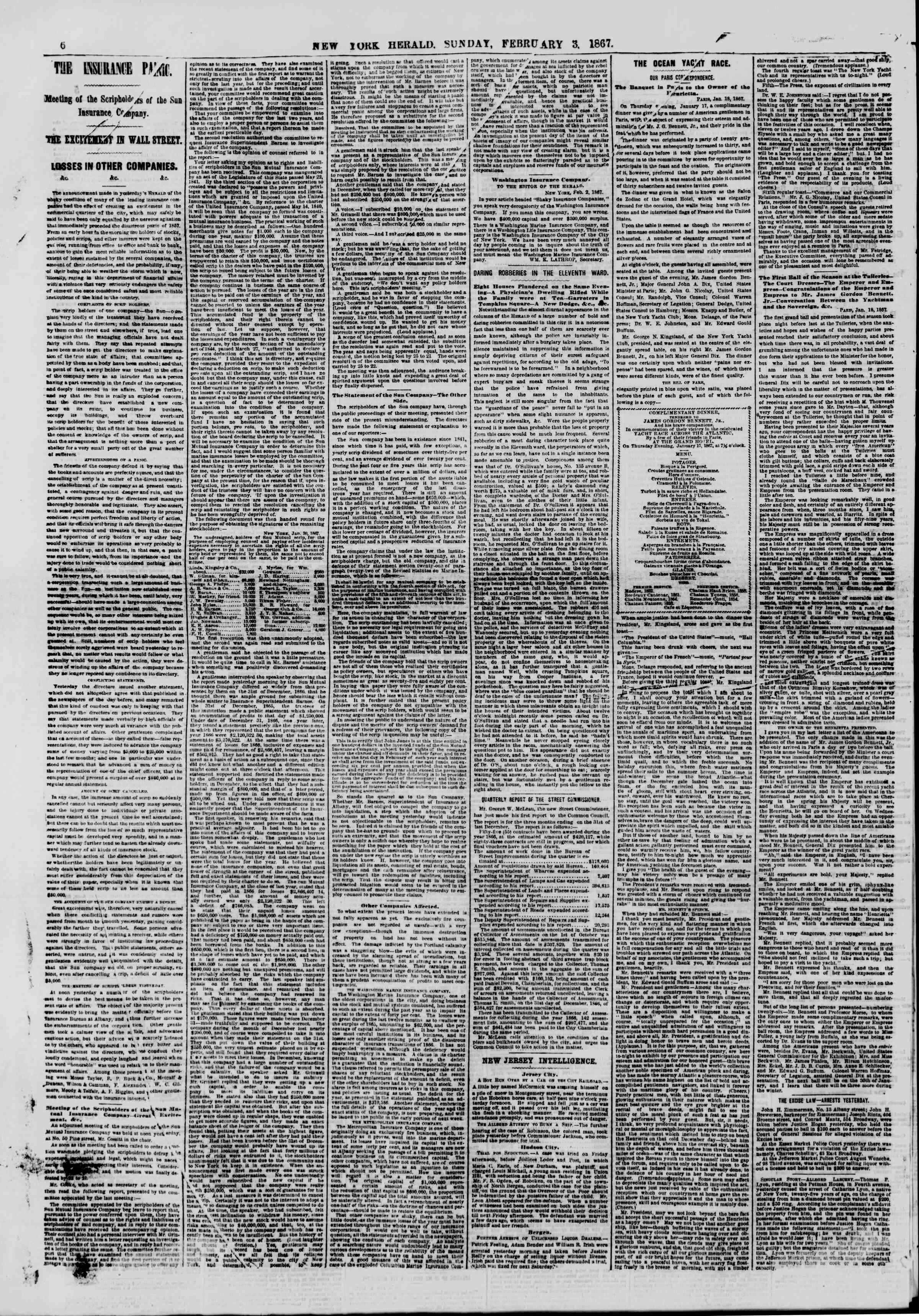 Newspaper of The New York Herald dated February 3, 1867 Page 6