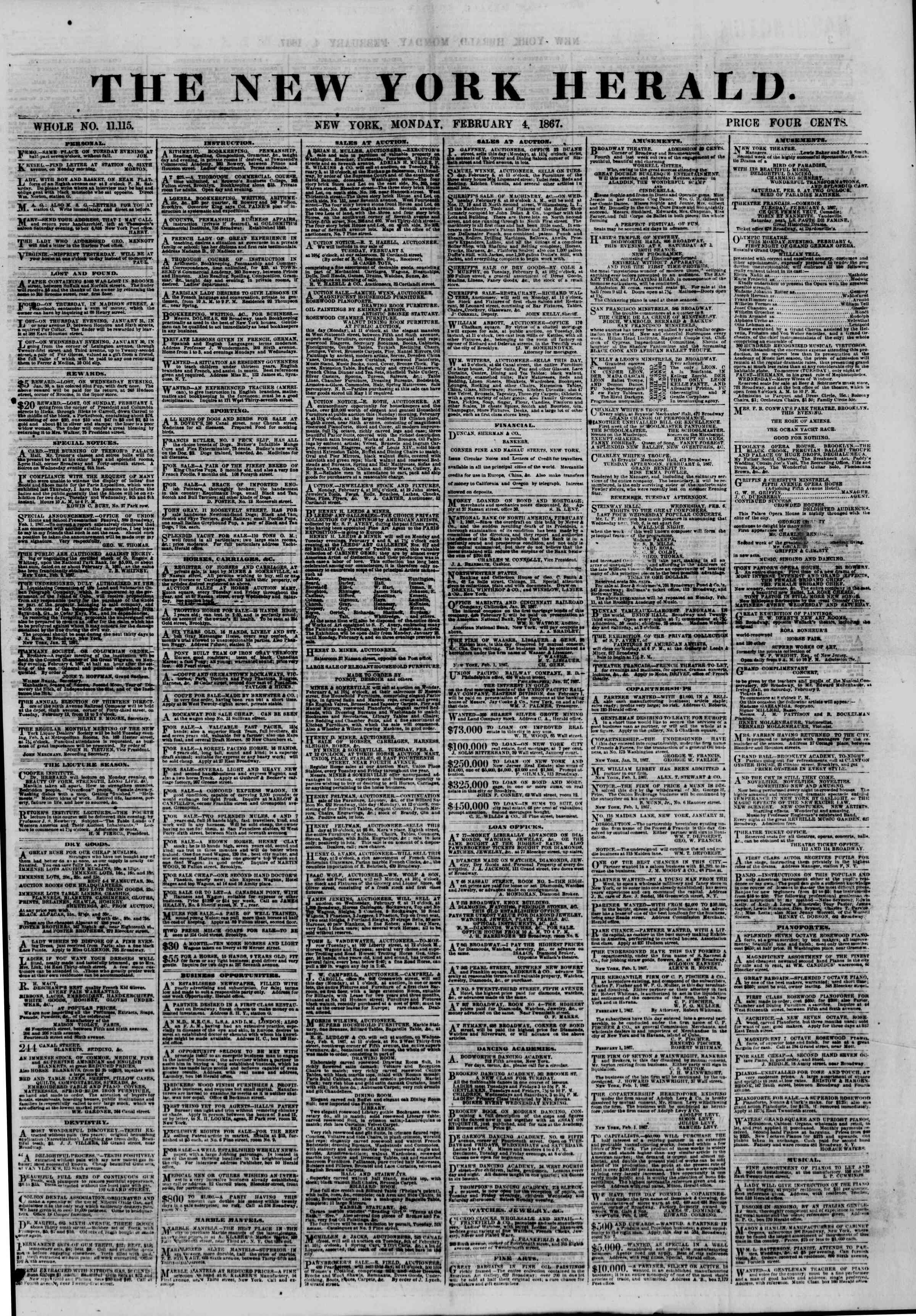 Newspaper of The New York Herald dated February 4, 1867 Page 1