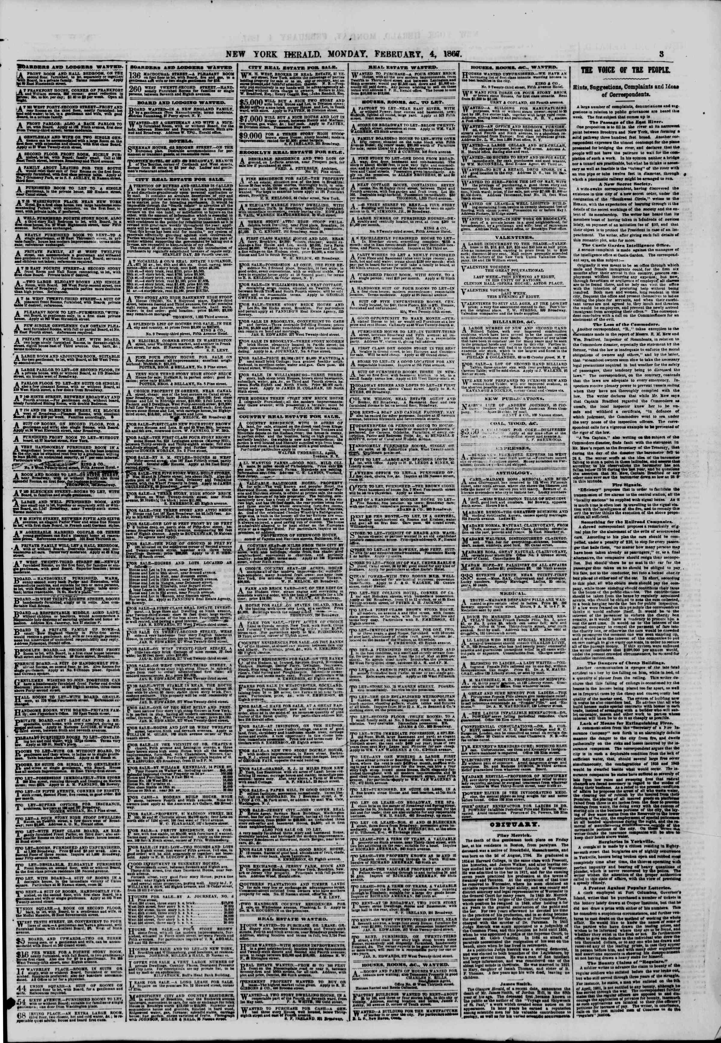 Newspaper of The New York Herald dated February 4, 1867 Page 3