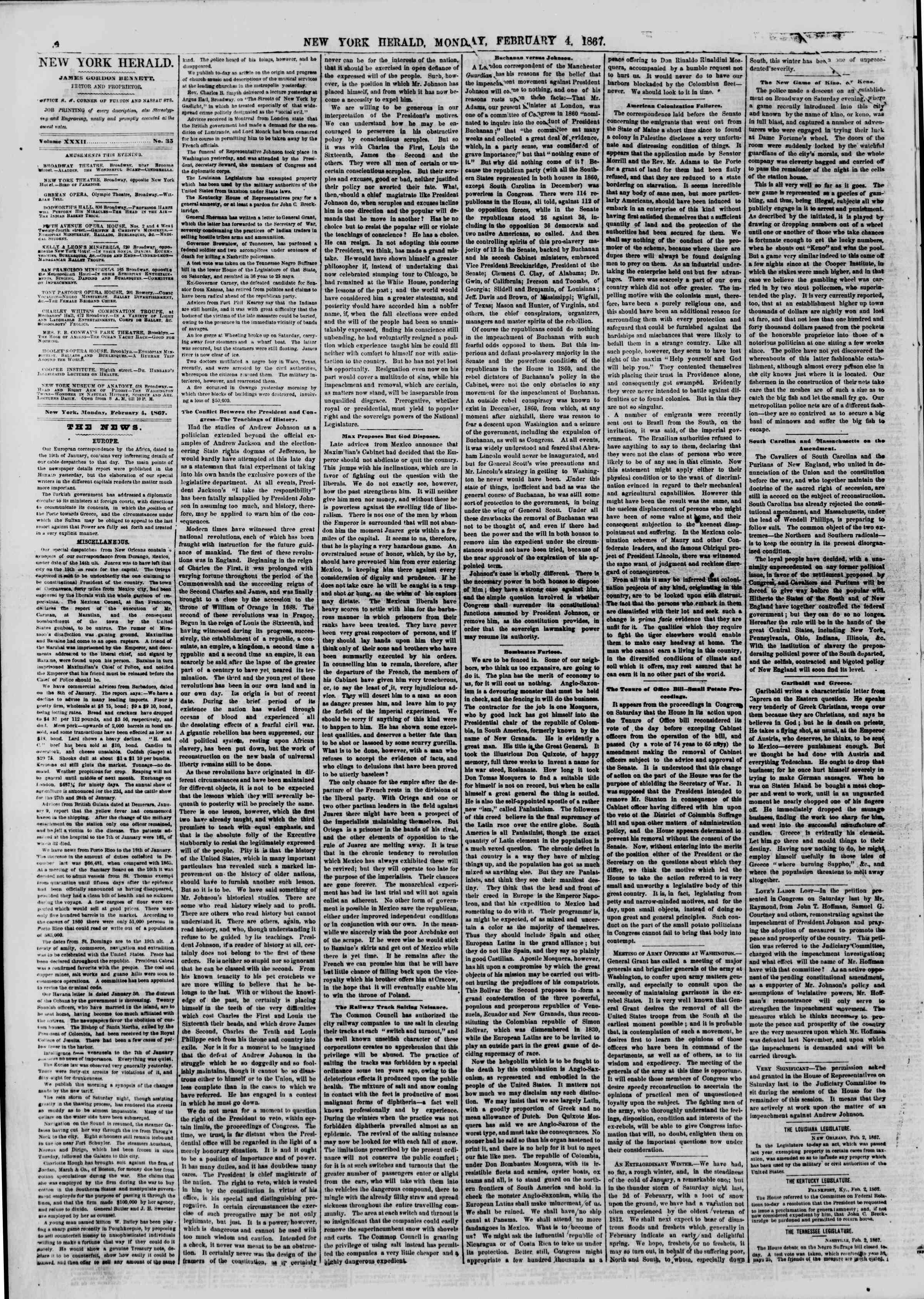 Newspaper of The New York Herald dated February 4, 1867 Page 4