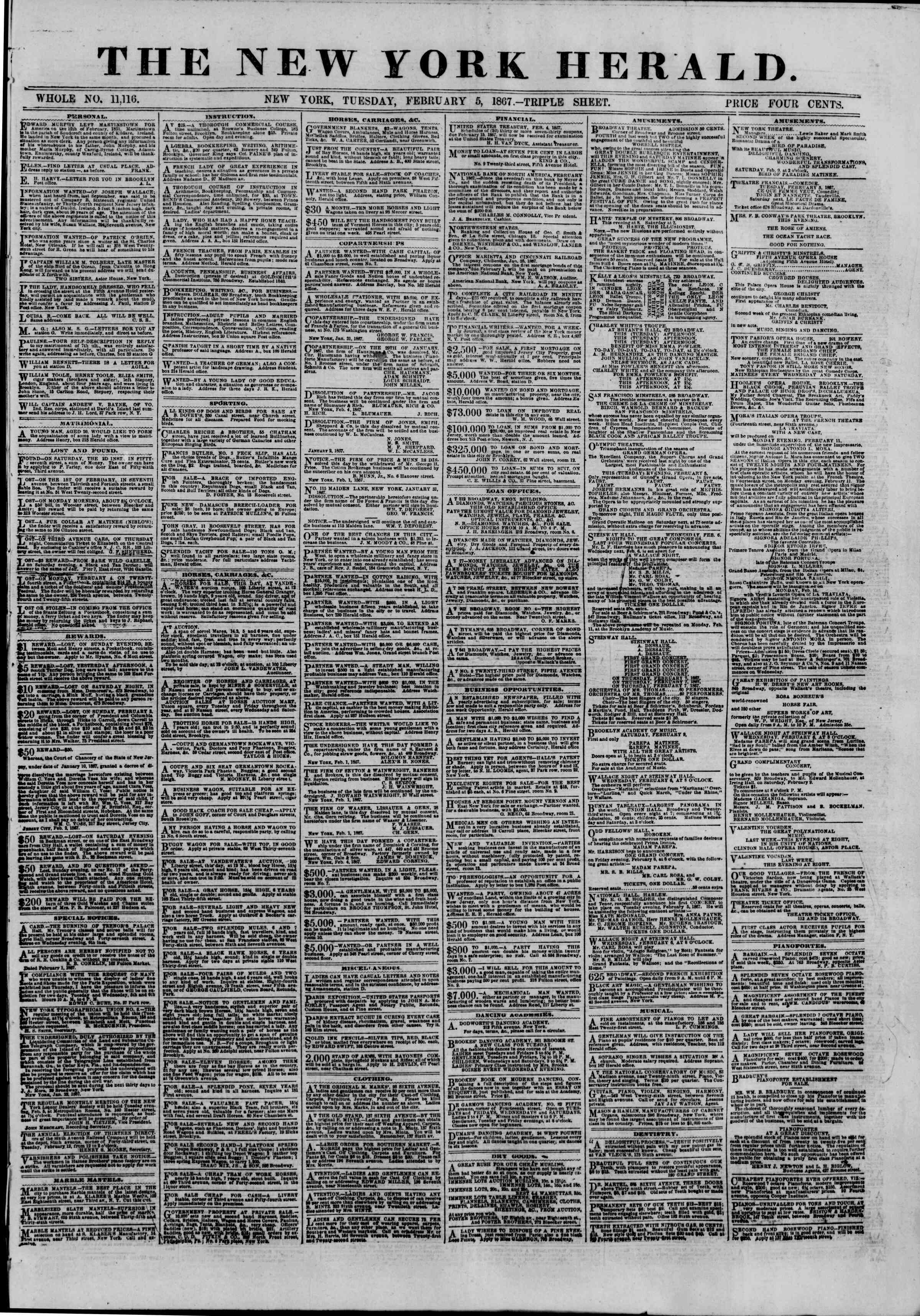 Newspaper of The New York Herald dated February 5, 1867 Page 1