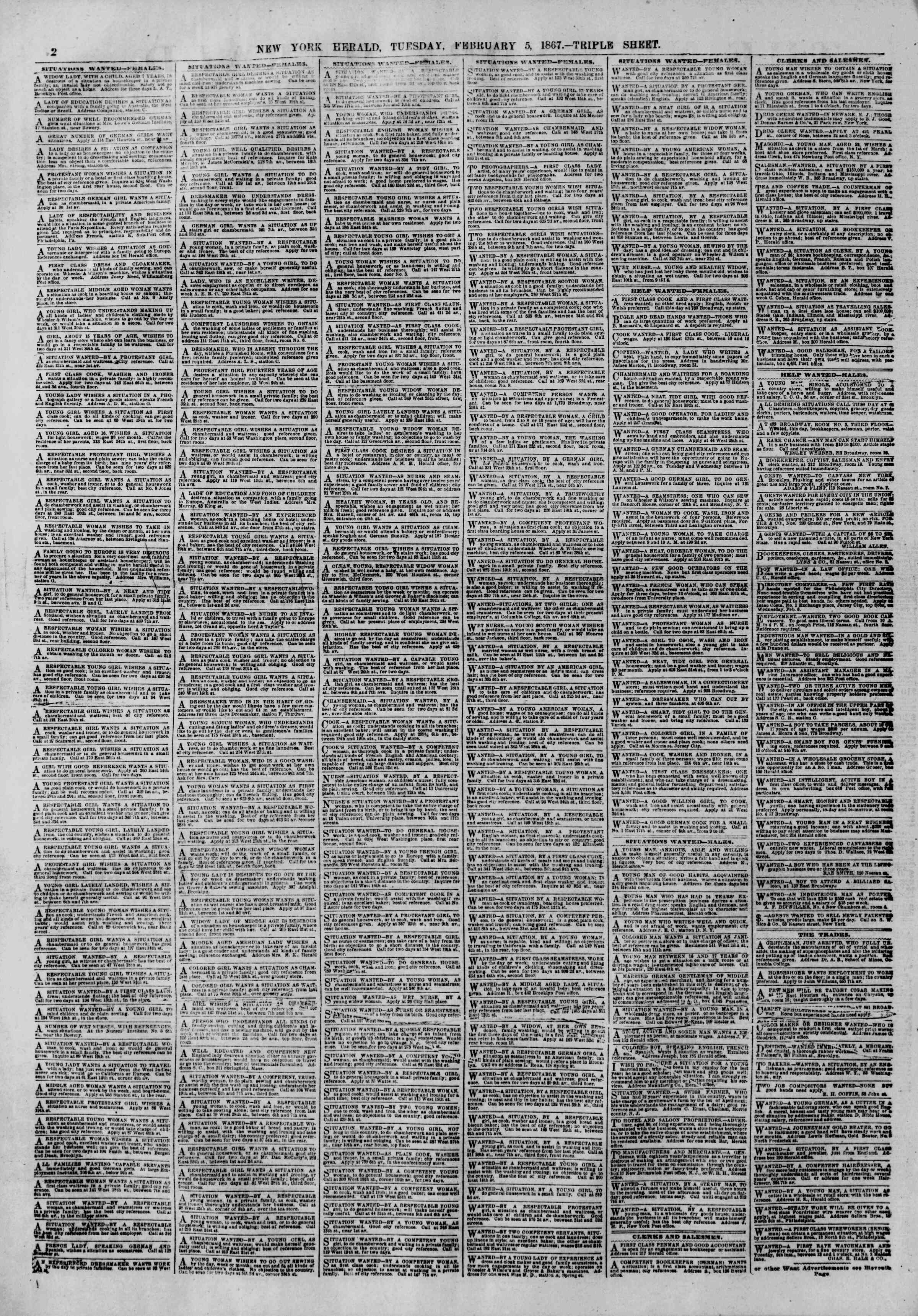 Newspaper of The New York Herald dated February 5, 1867 Page 2