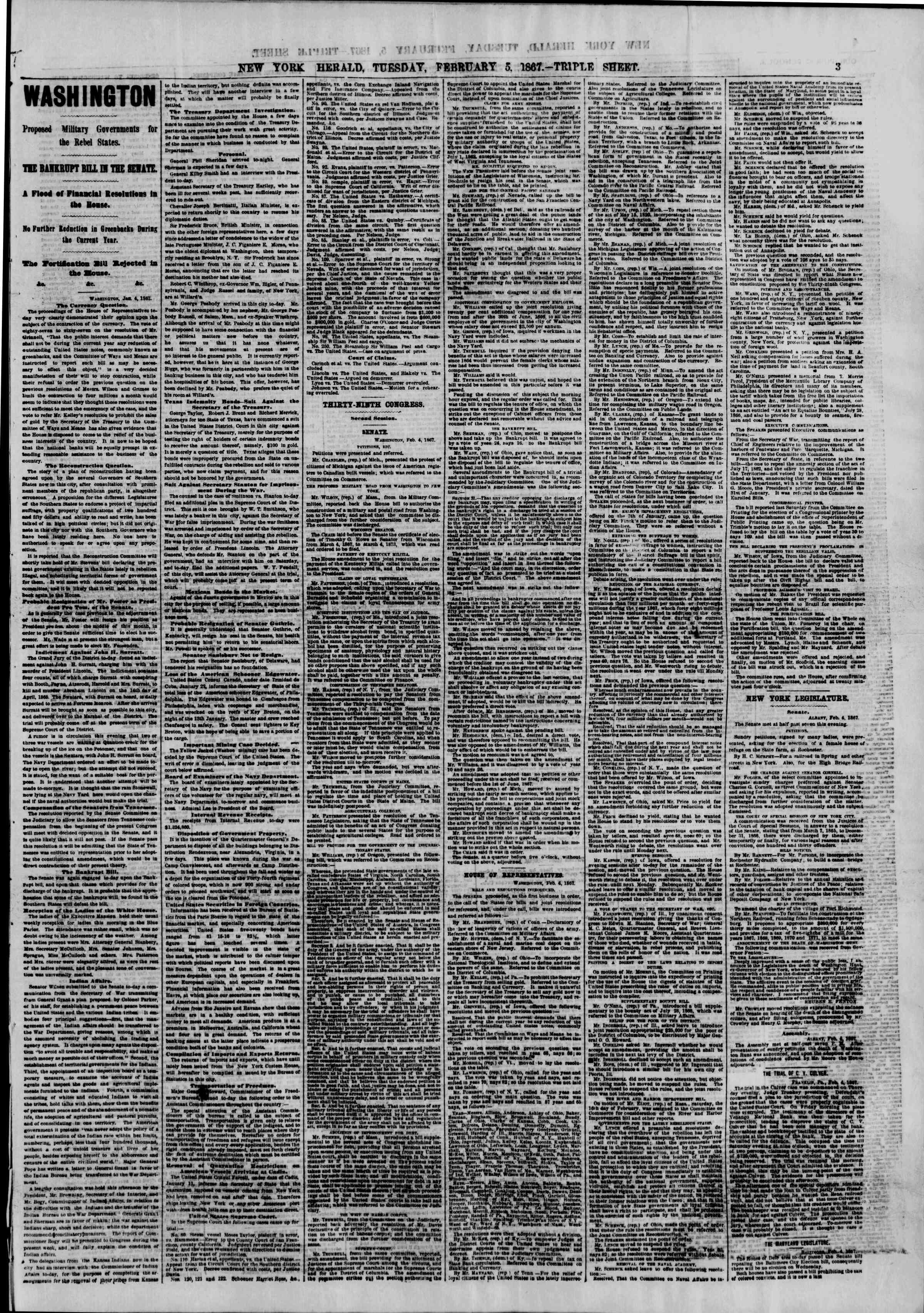 Newspaper of The New York Herald dated February 5, 1867 Page 3