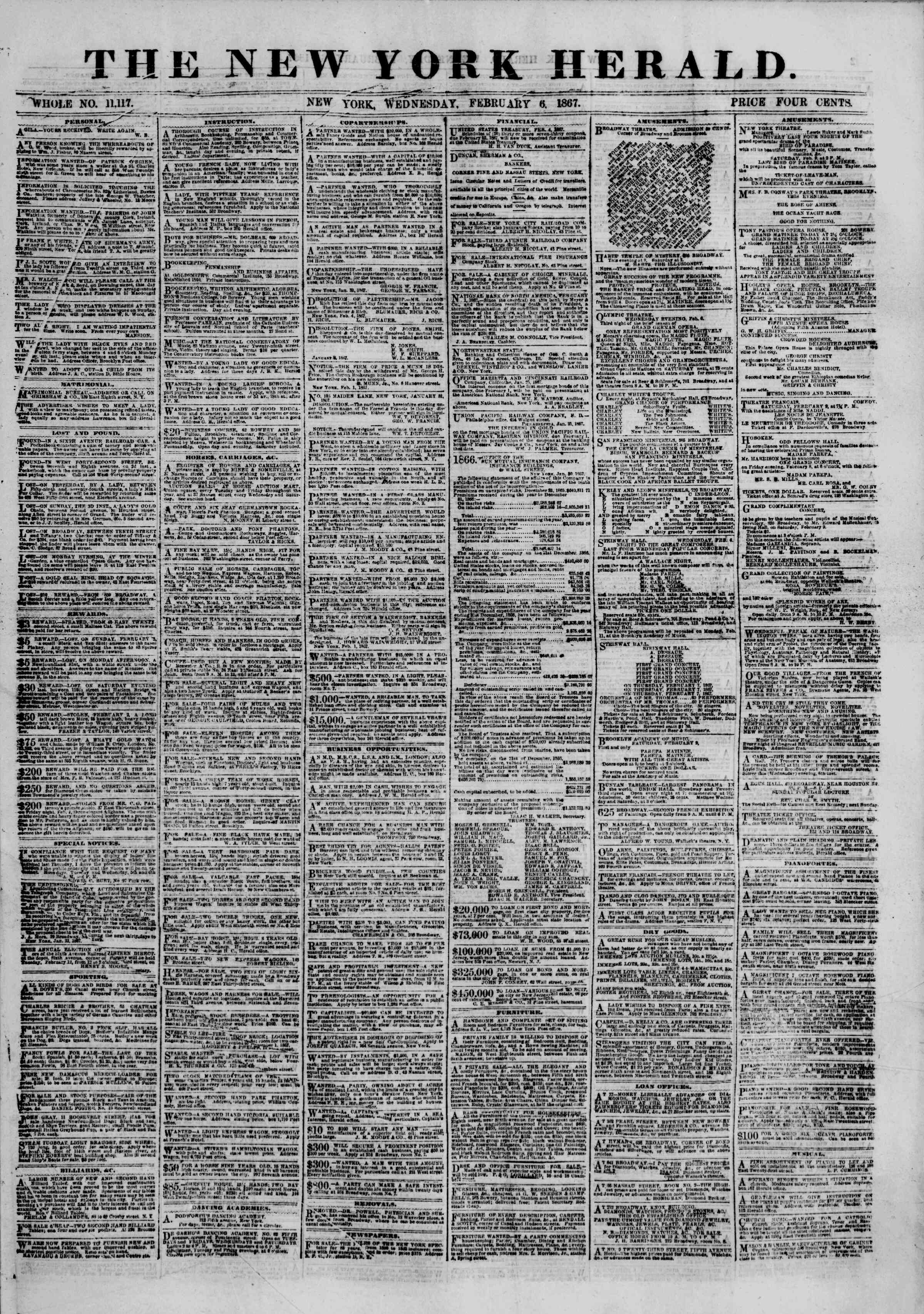 Newspaper of The New York Herald dated February 6, 1867 Page 1