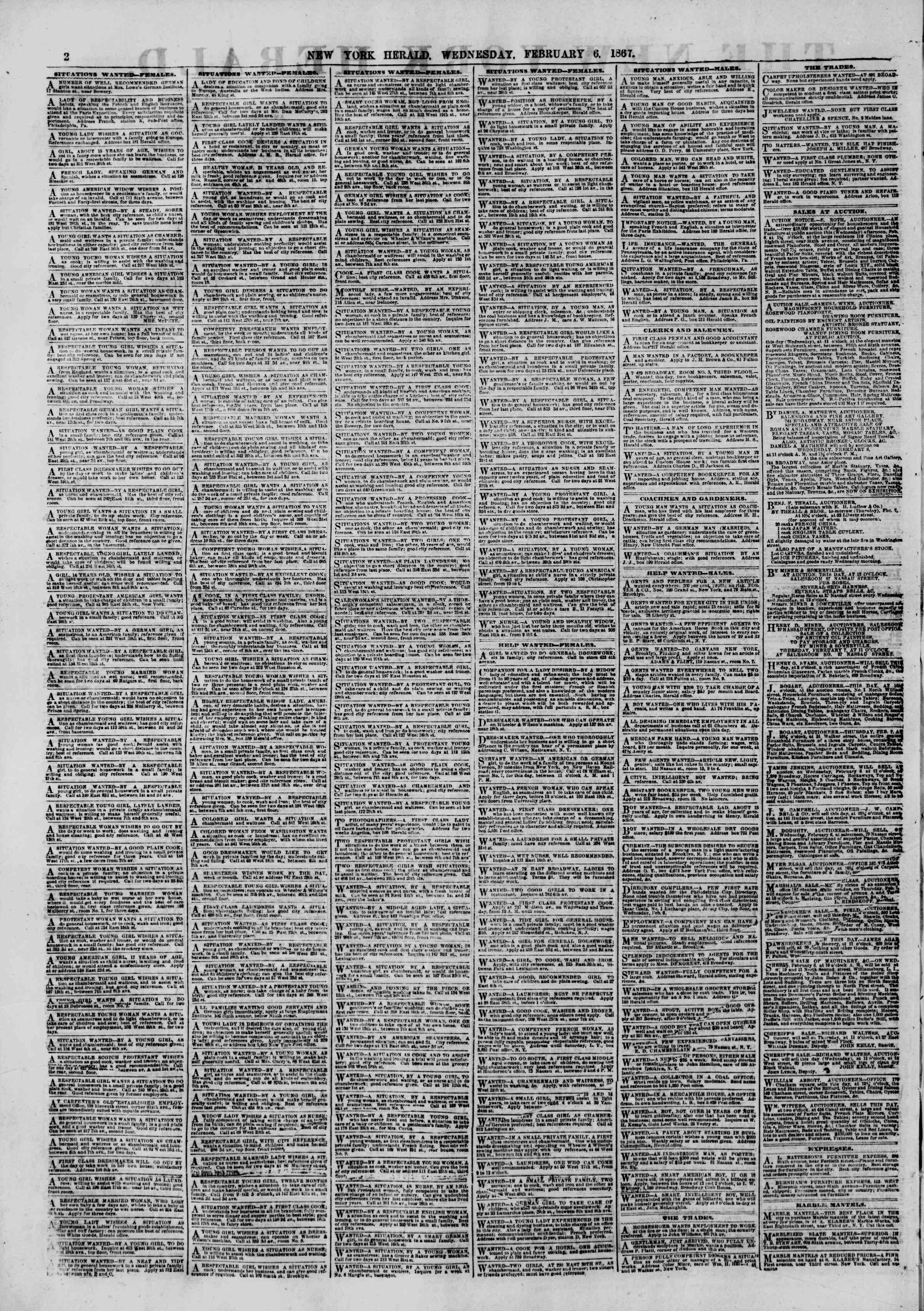 Newspaper of The New York Herald dated February 6, 1867 Page 2