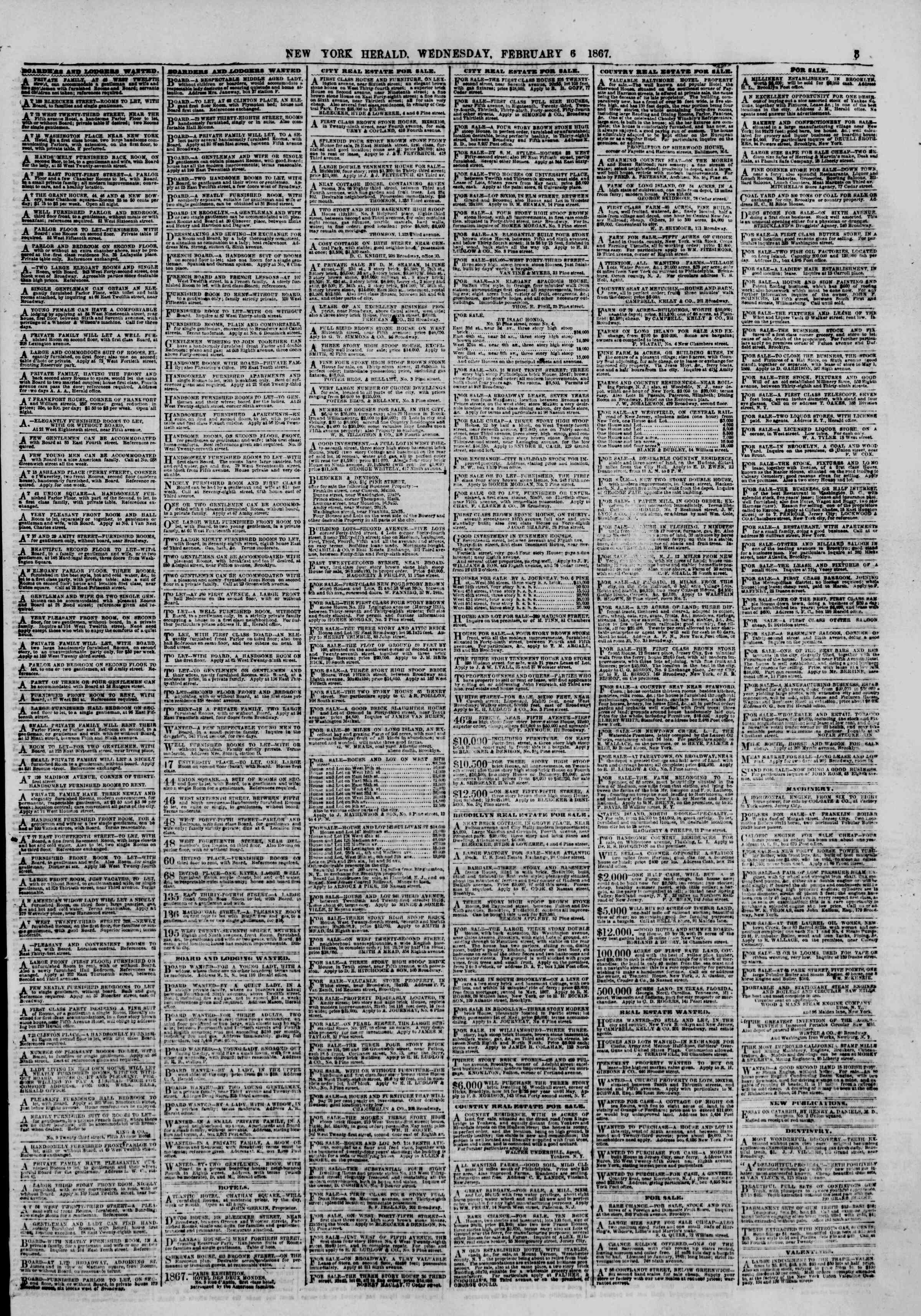 Newspaper of The New York Herald dated February 6, 1867 Page 3