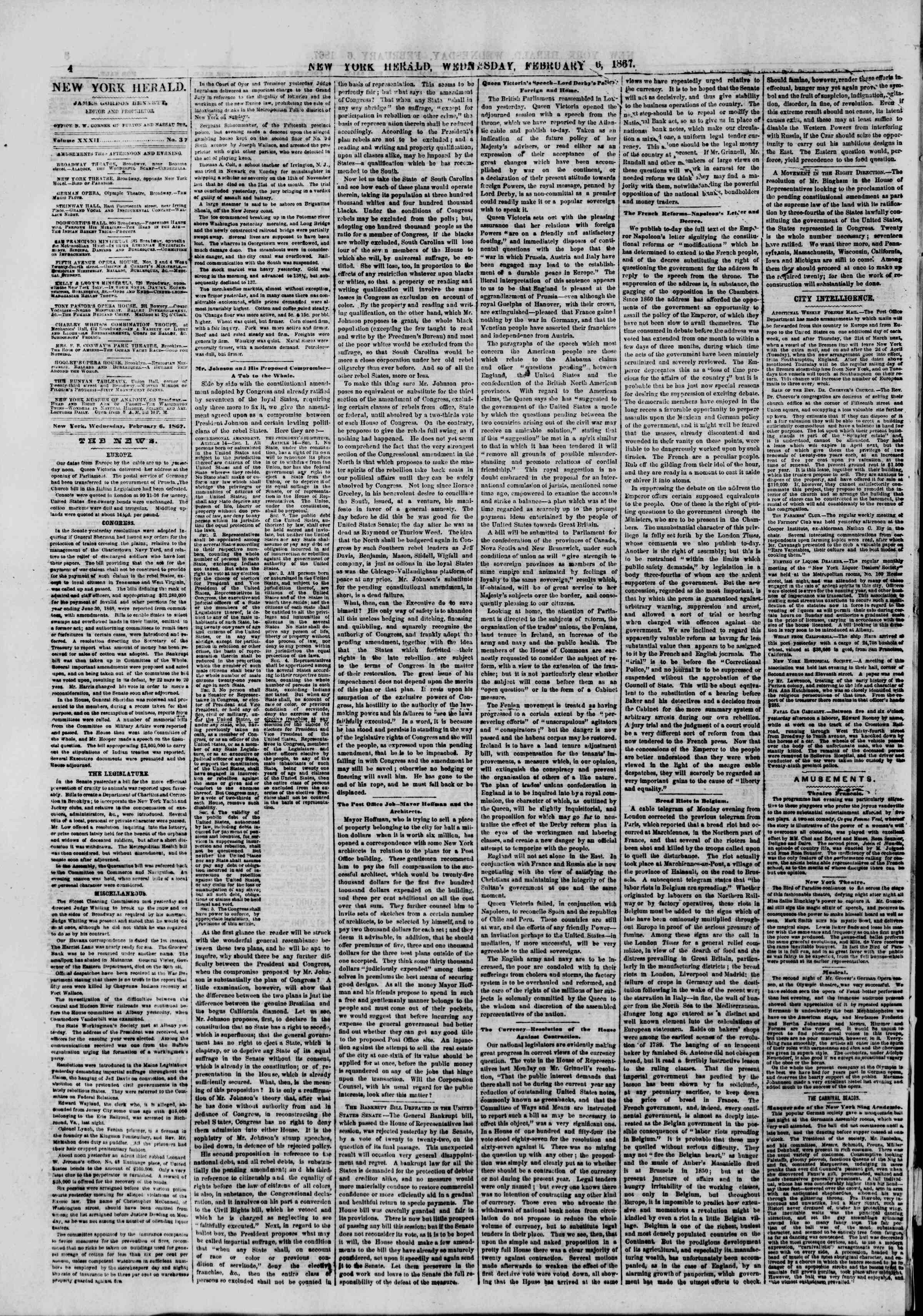 Newspaper of The New York Herald dated February 6, 1867 Page 4