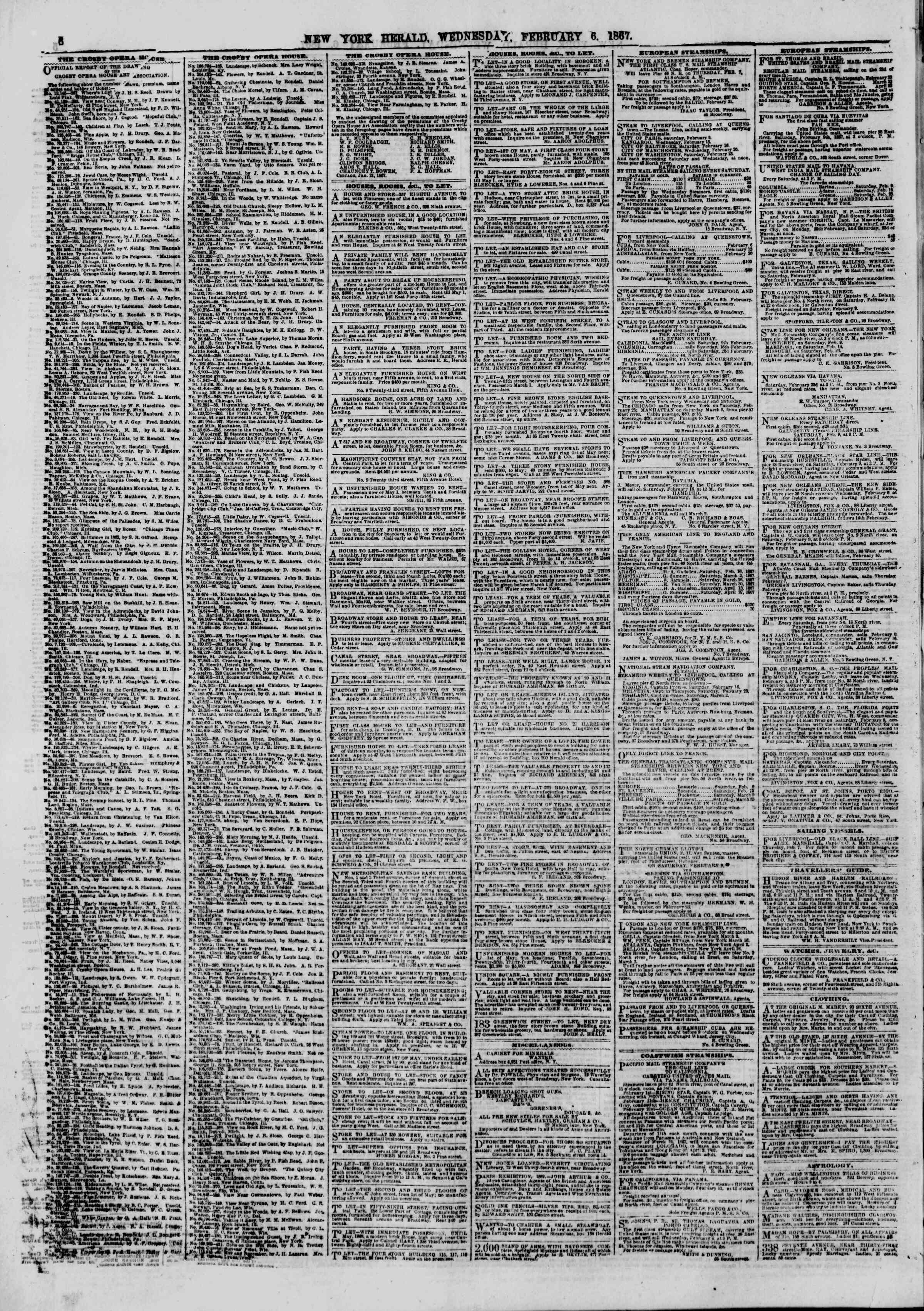 Newspaper of The New York Herald dated February 6, 1867 Page 6