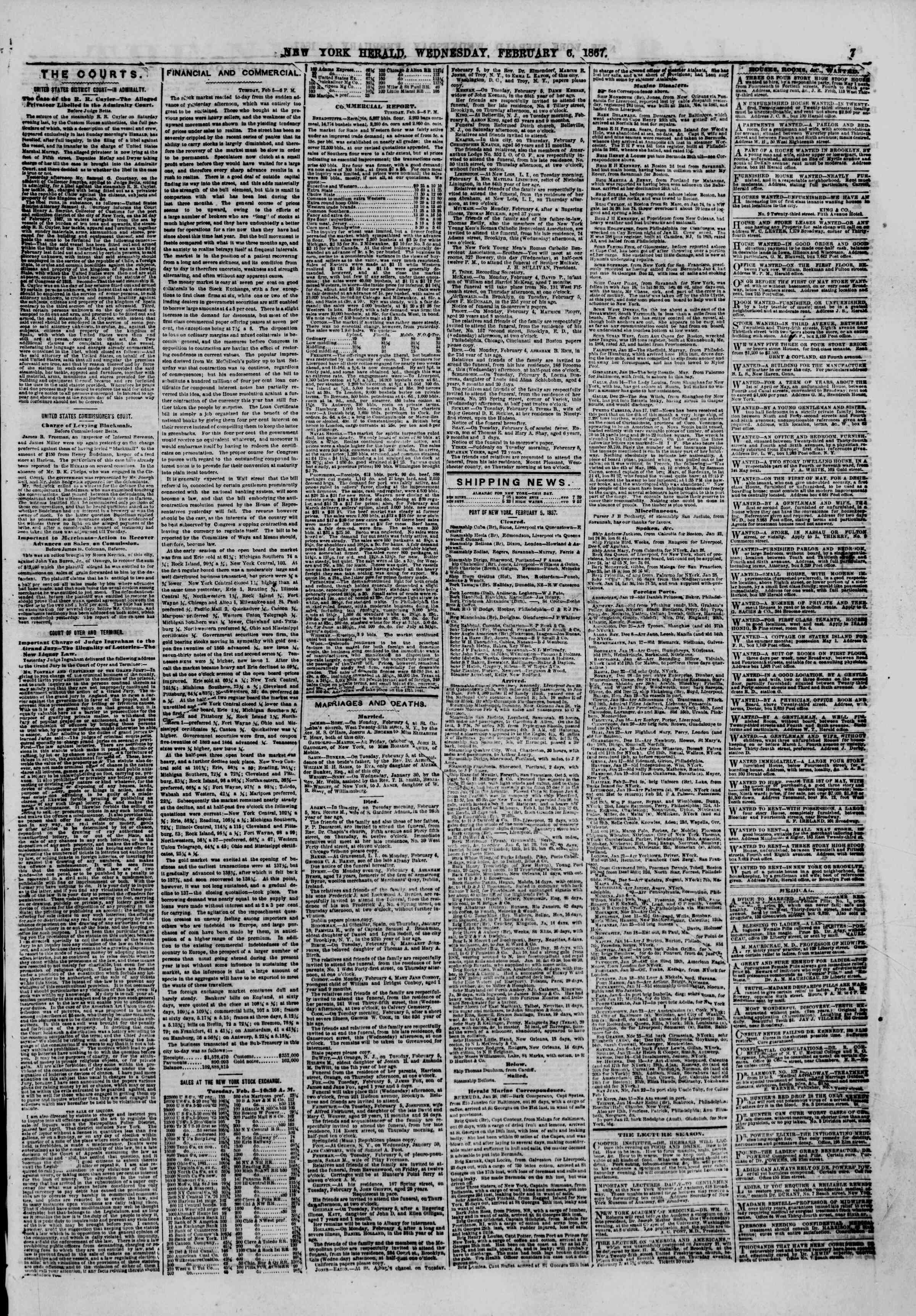 Newspaper of The New York Herald dated February 6, 1867 Page 7
