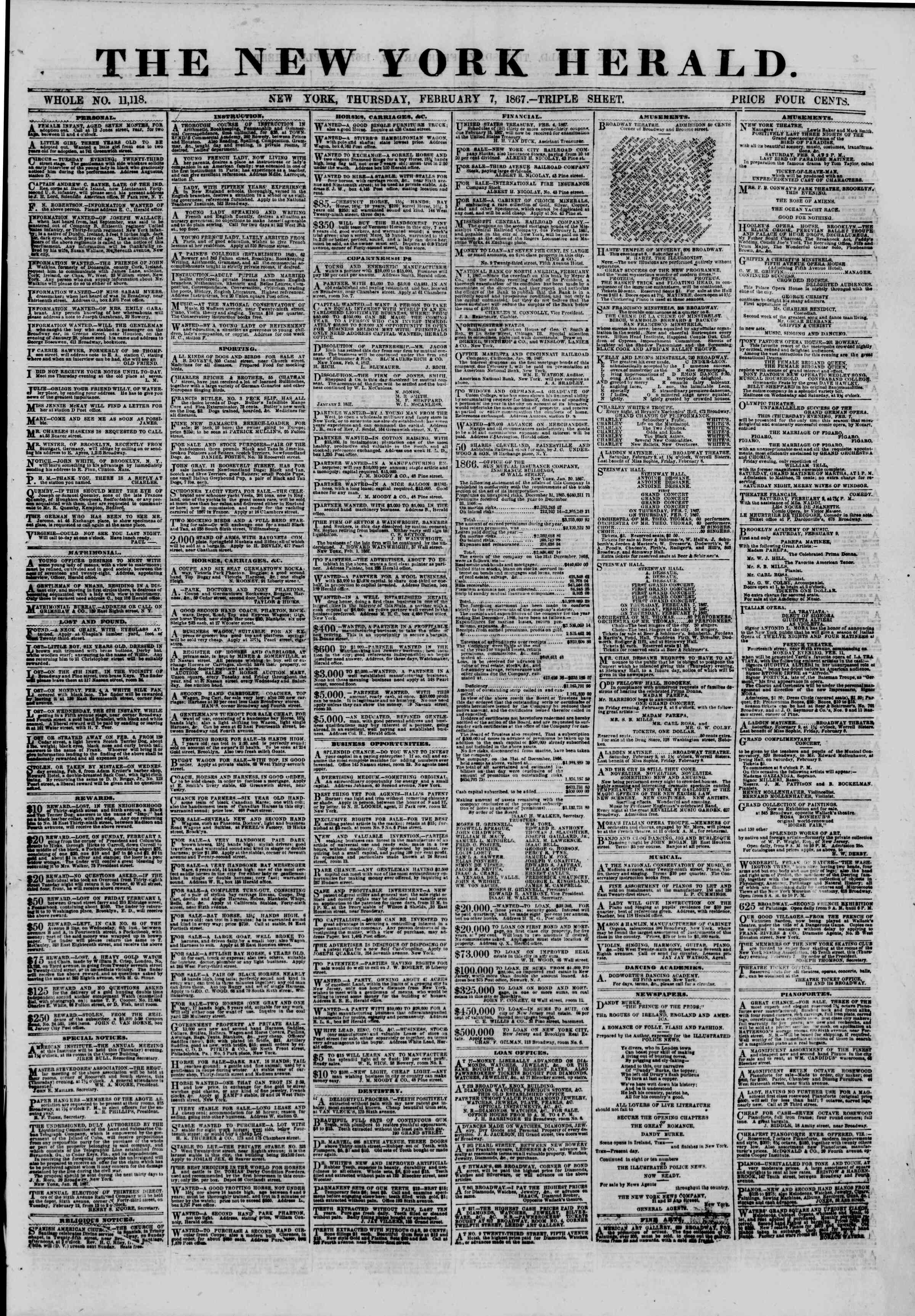 Newspaper of The New York Herald dated February 7, 1867 Page 1