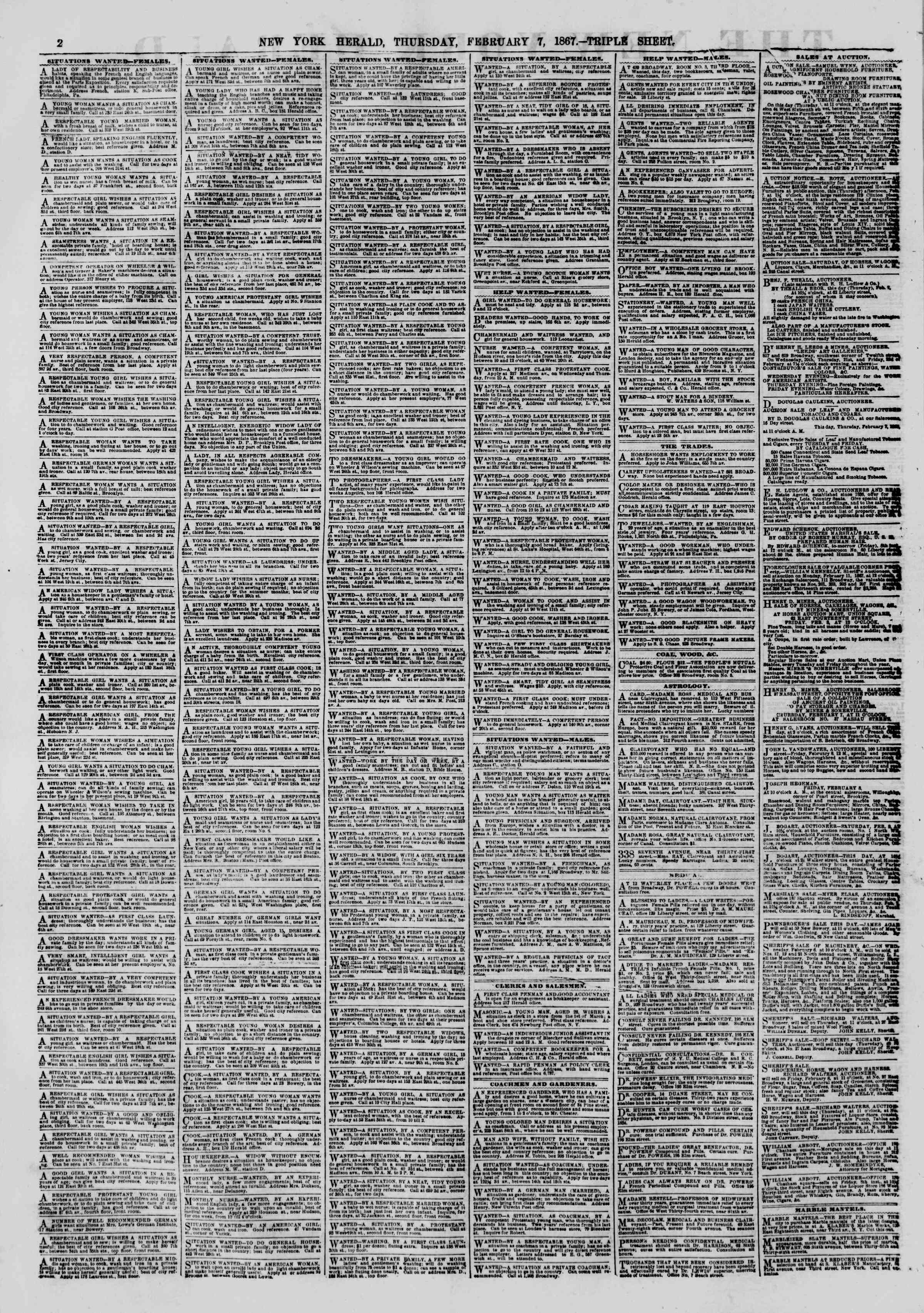 Newspaper of The New York Herald dated February 7, 1867 Page 2