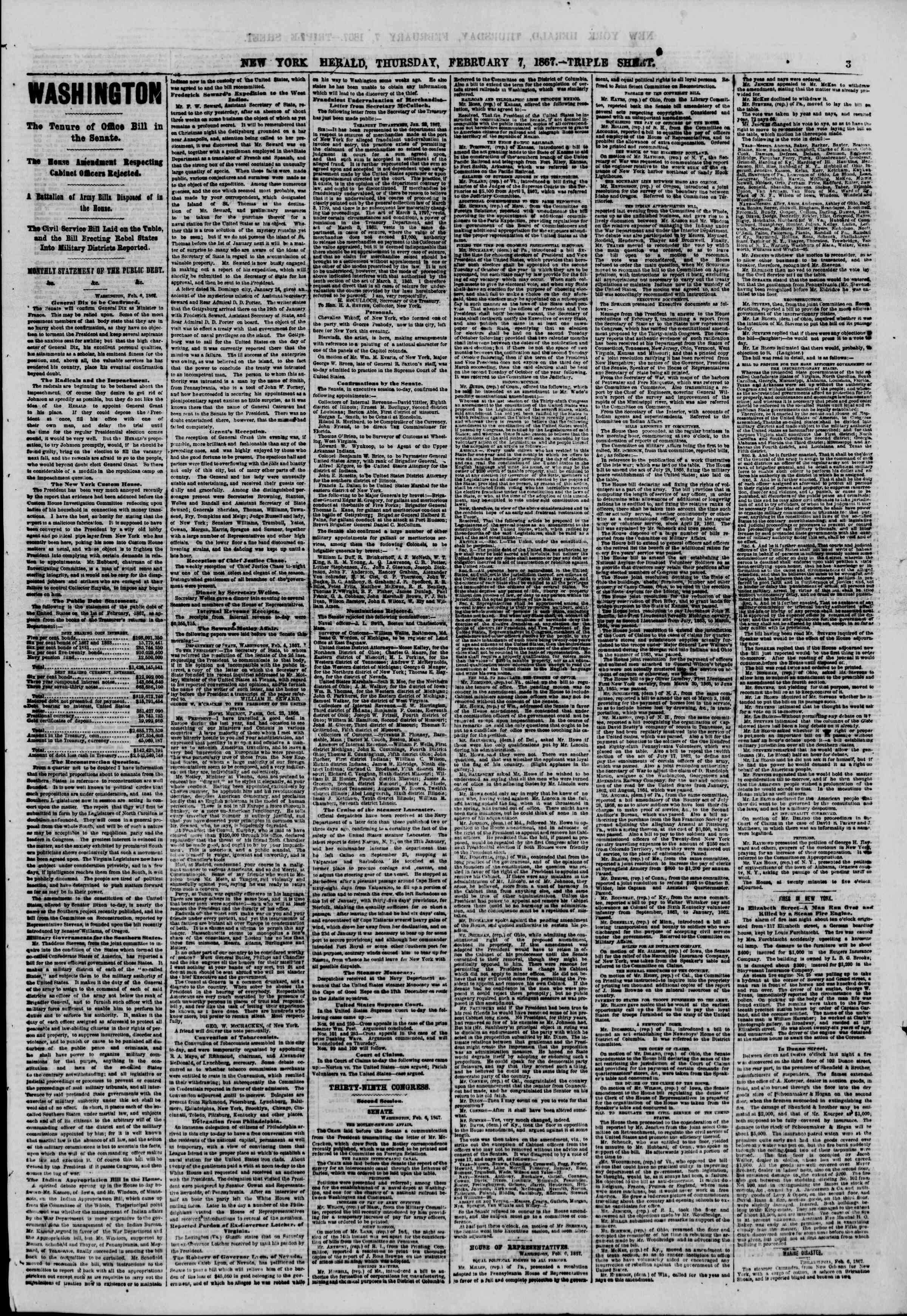 Newspaper of The New York Herald dated February 7, 1867 Page 3