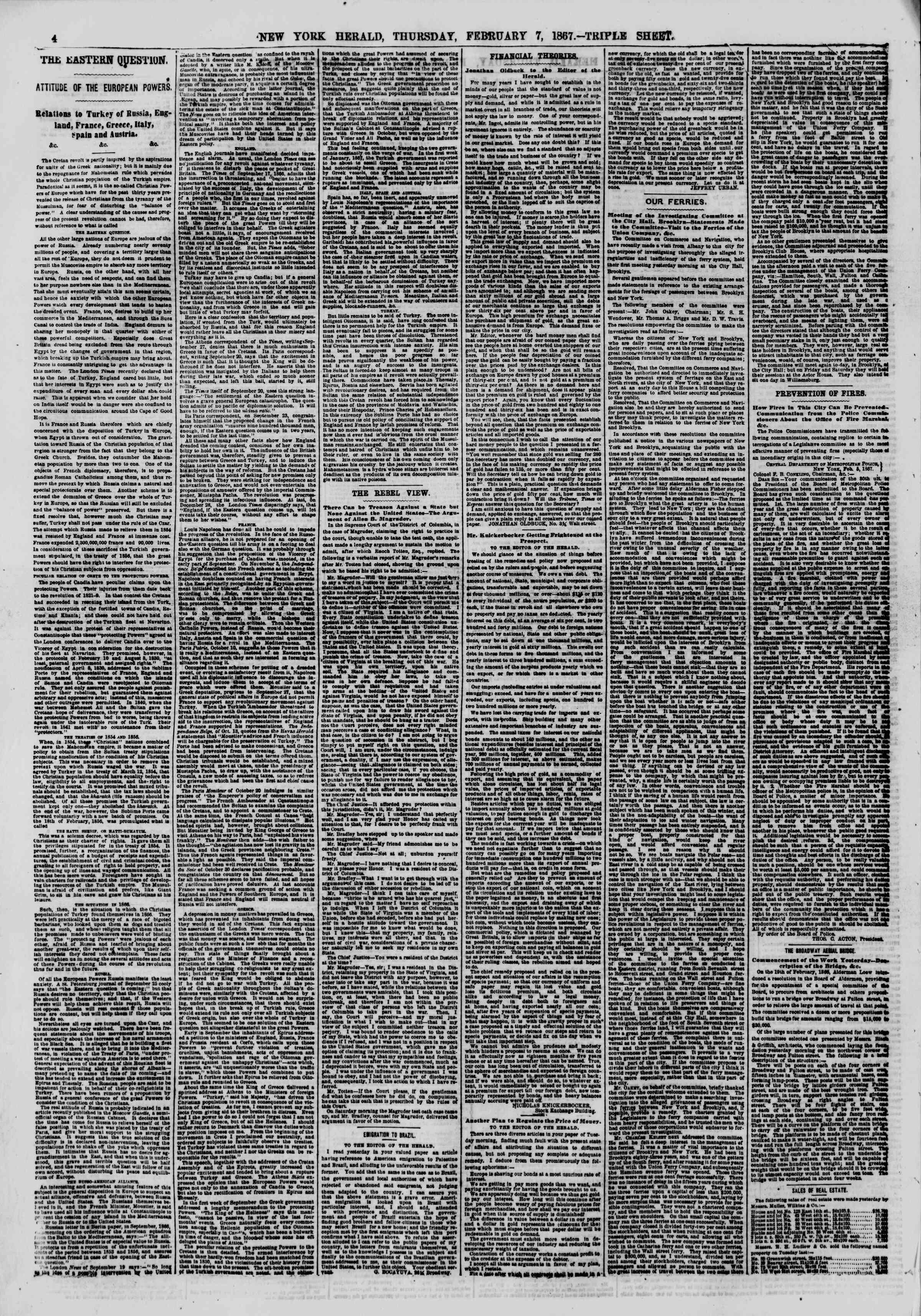 Newspaper of The New York Herald dated February 7, 1867 Page 4