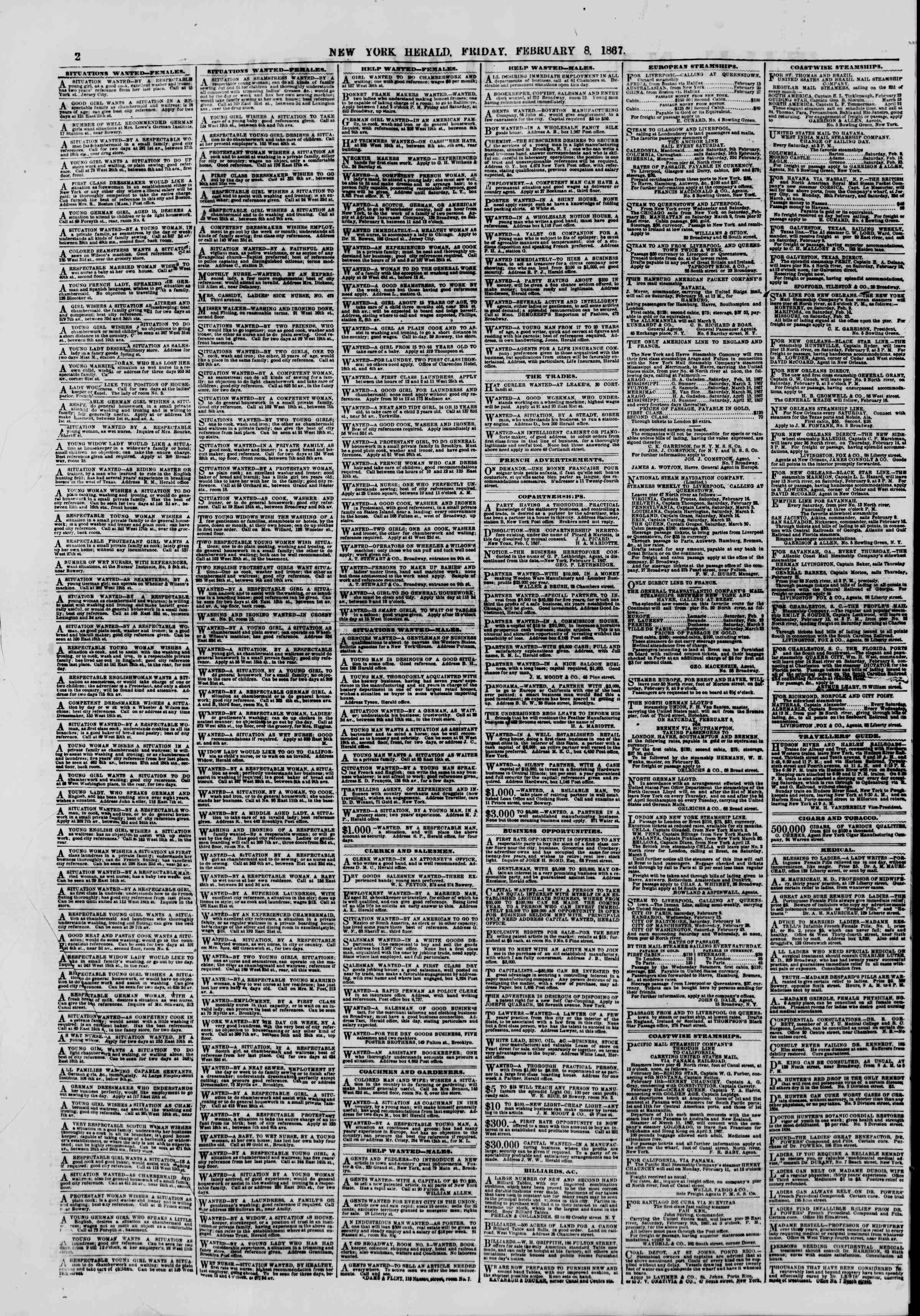 Newspaper of The New York Herald dated February 8, 1867 Page 2