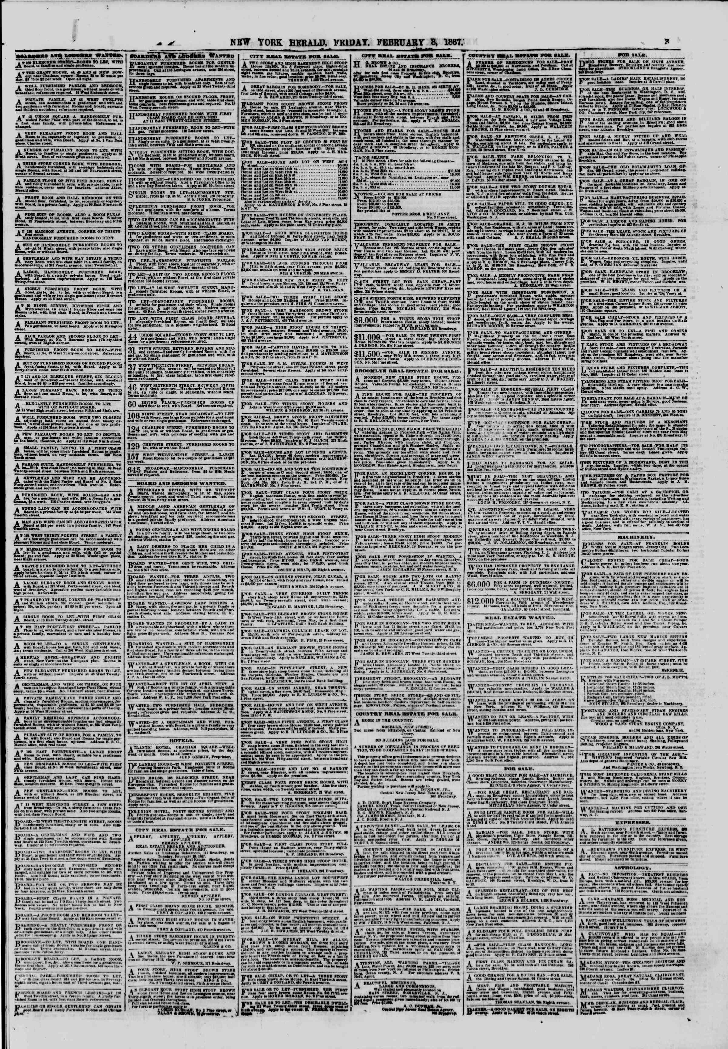 Newspaper of The New York Herald dated February 8, 1867 Page 3