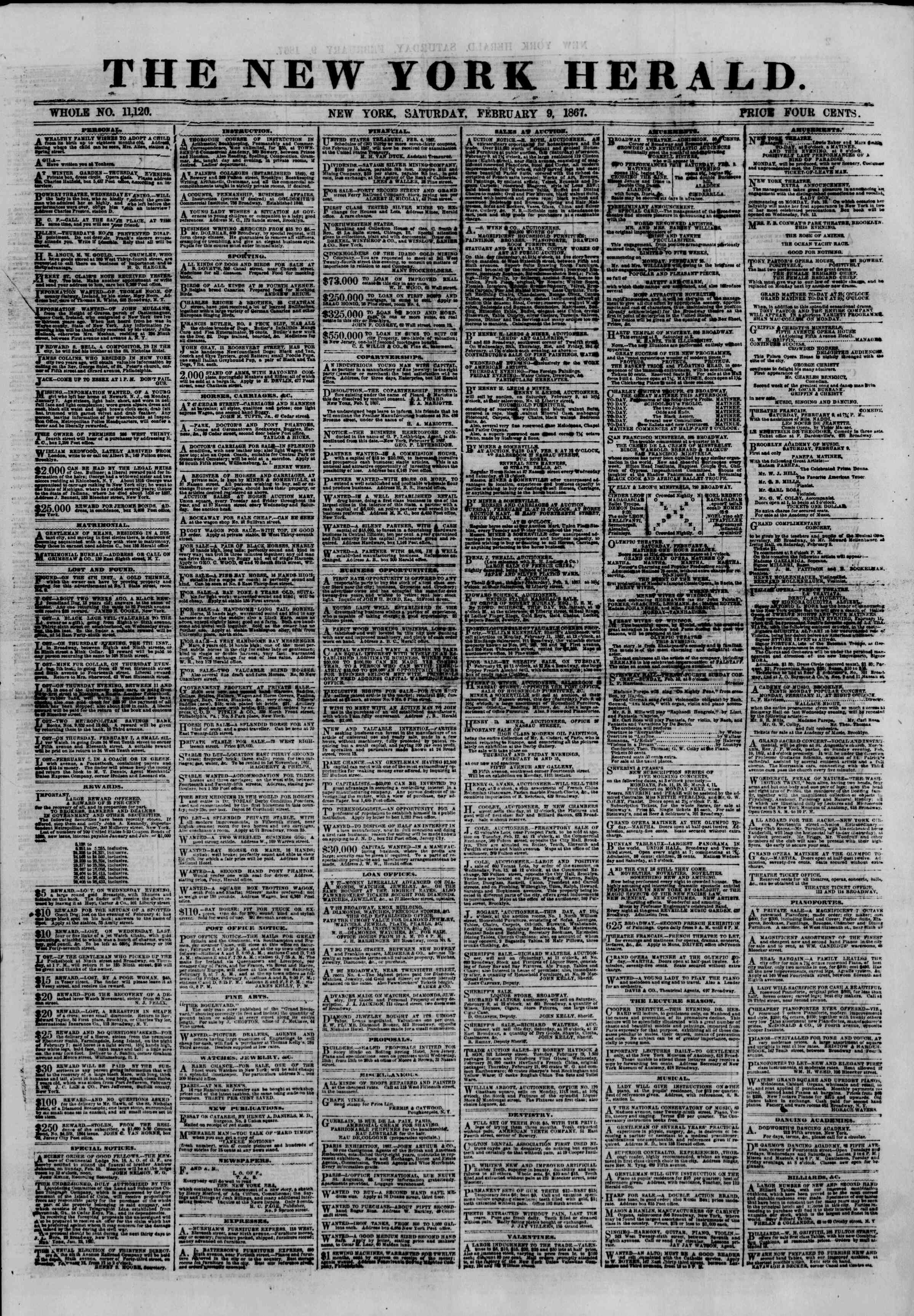 Newspaper of The New York Herald dated February 9, 1867 Page 1