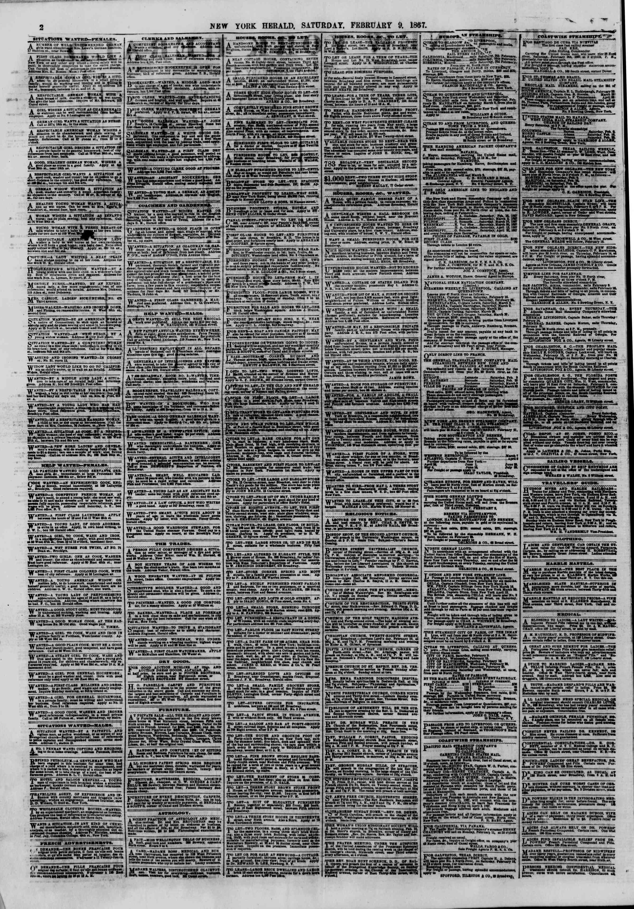 Newspaper of The New York Herald dated February 9, 1867 Page 2