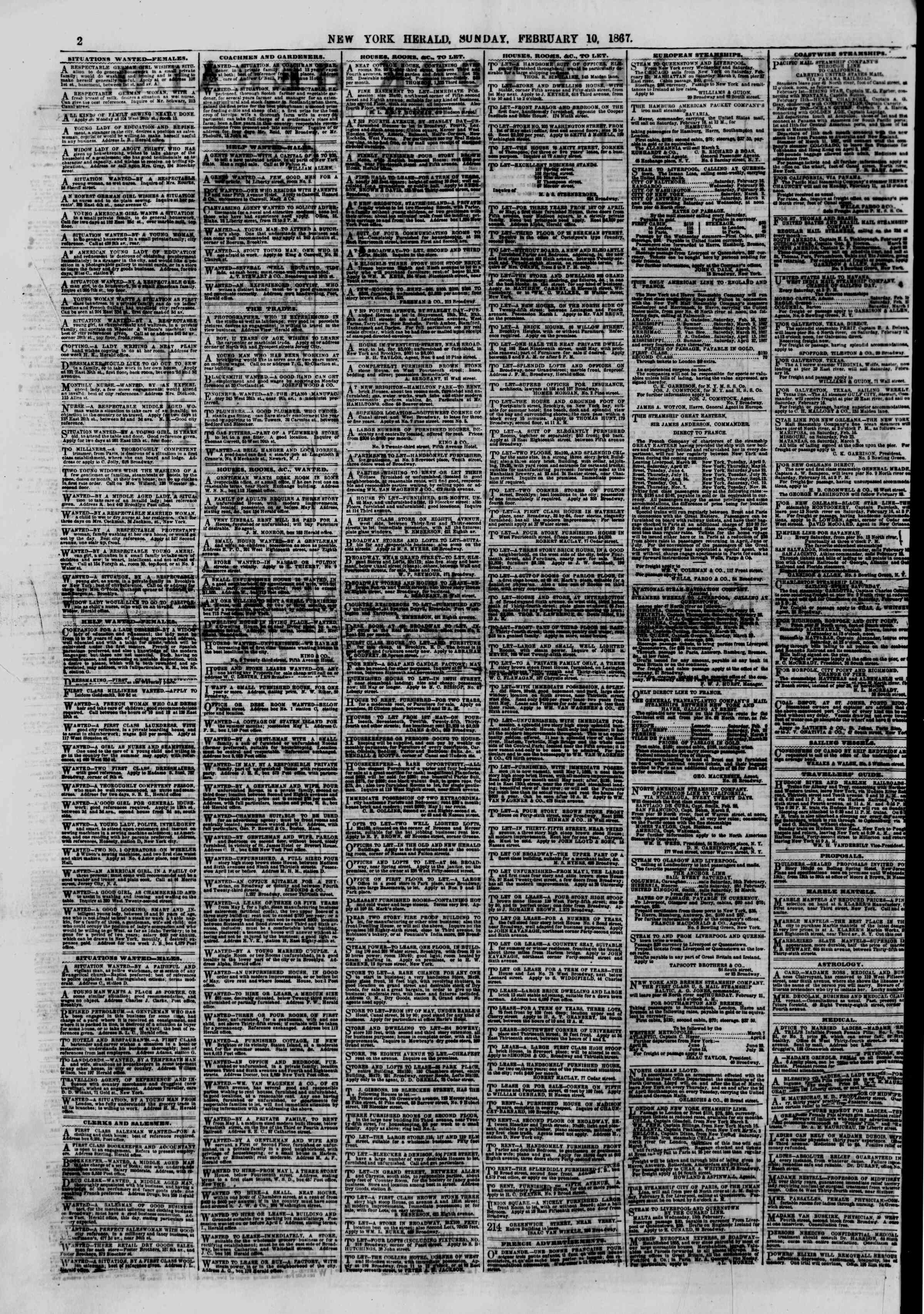 Newspaper of The New York Herald dated February 10, 1867 Page 2
