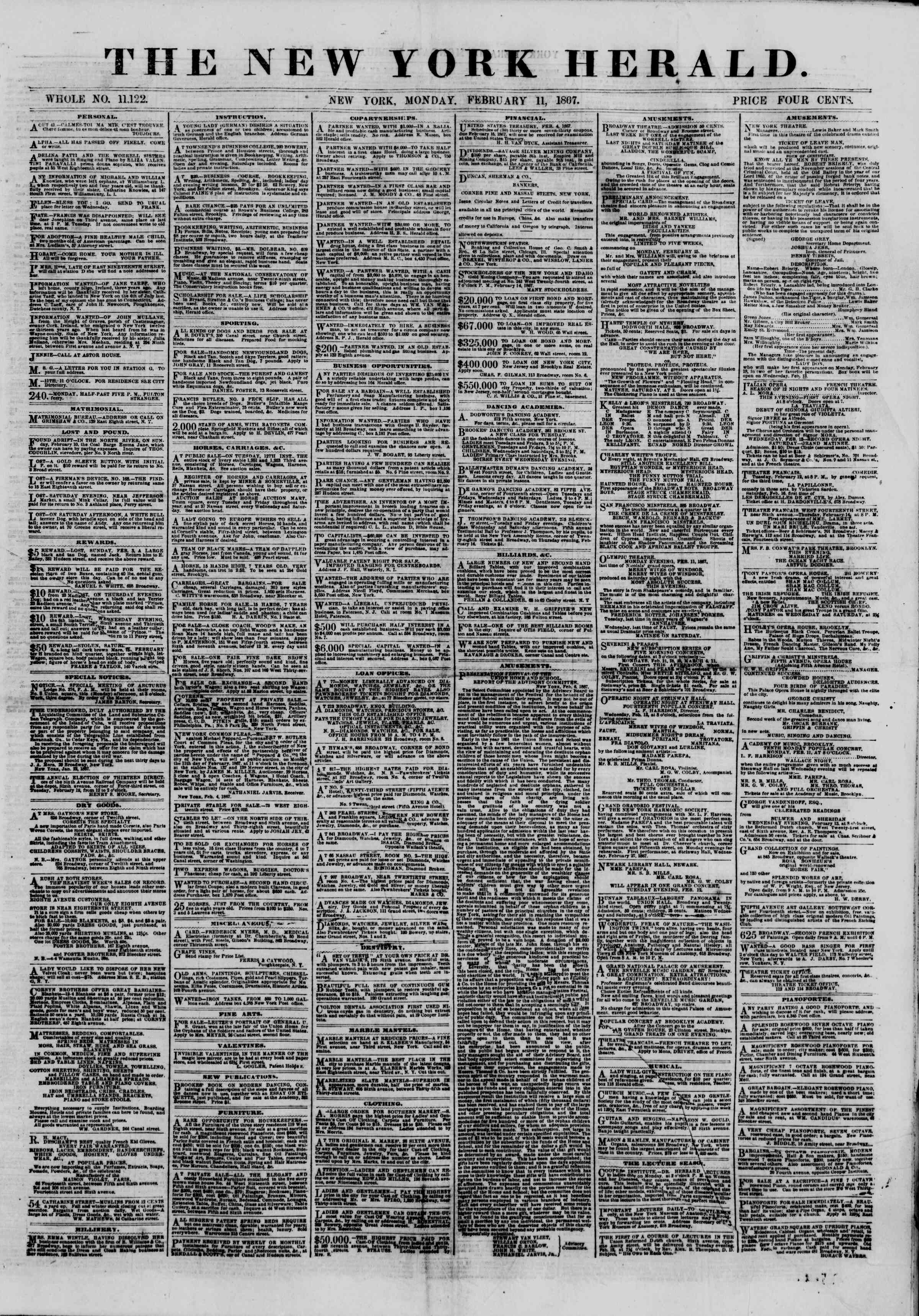 Newspaper of The New York Herald dated February 11, 1867 Page 1