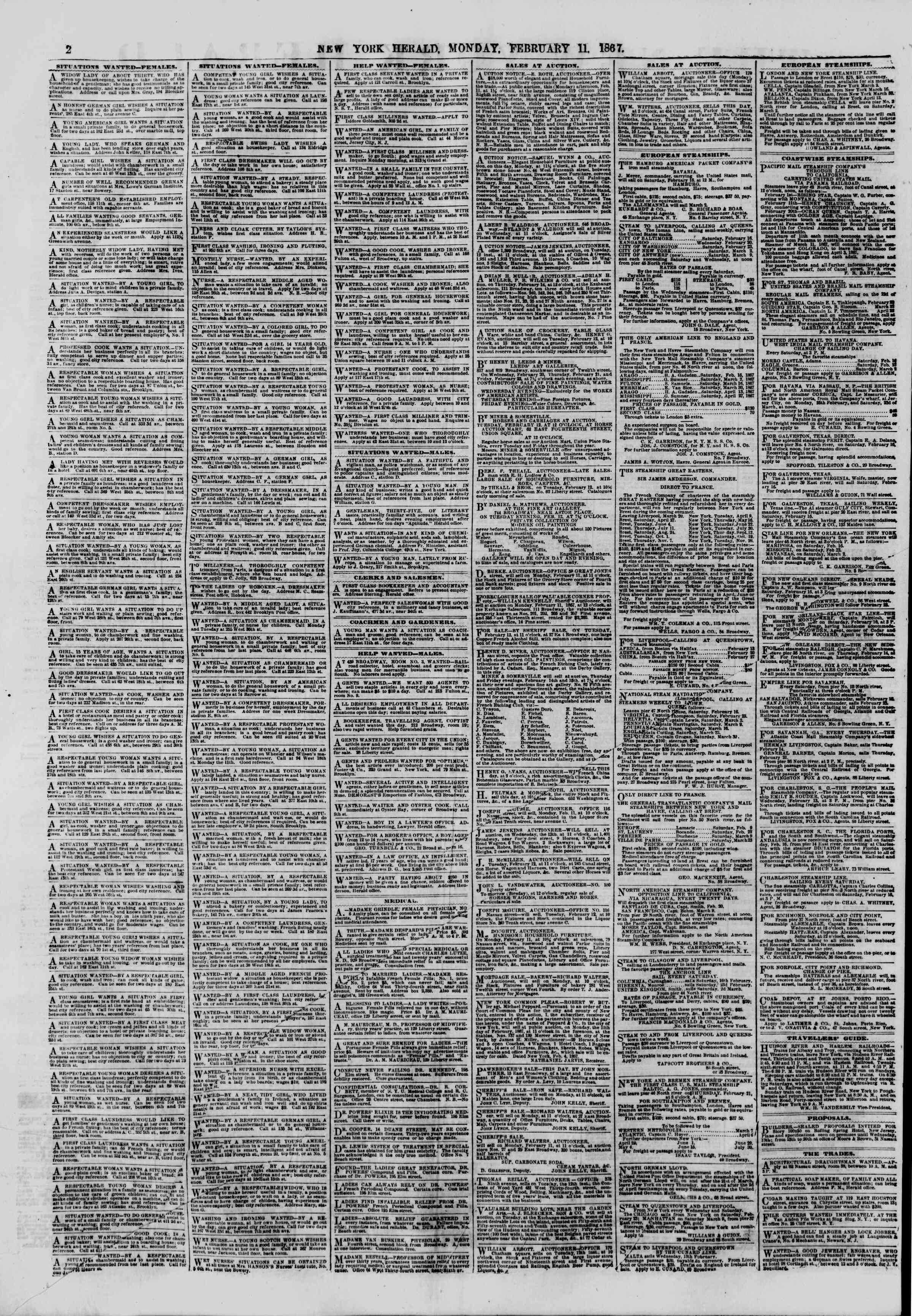 Newspaper of The New York Herald dated February 11, 1867 Page 2