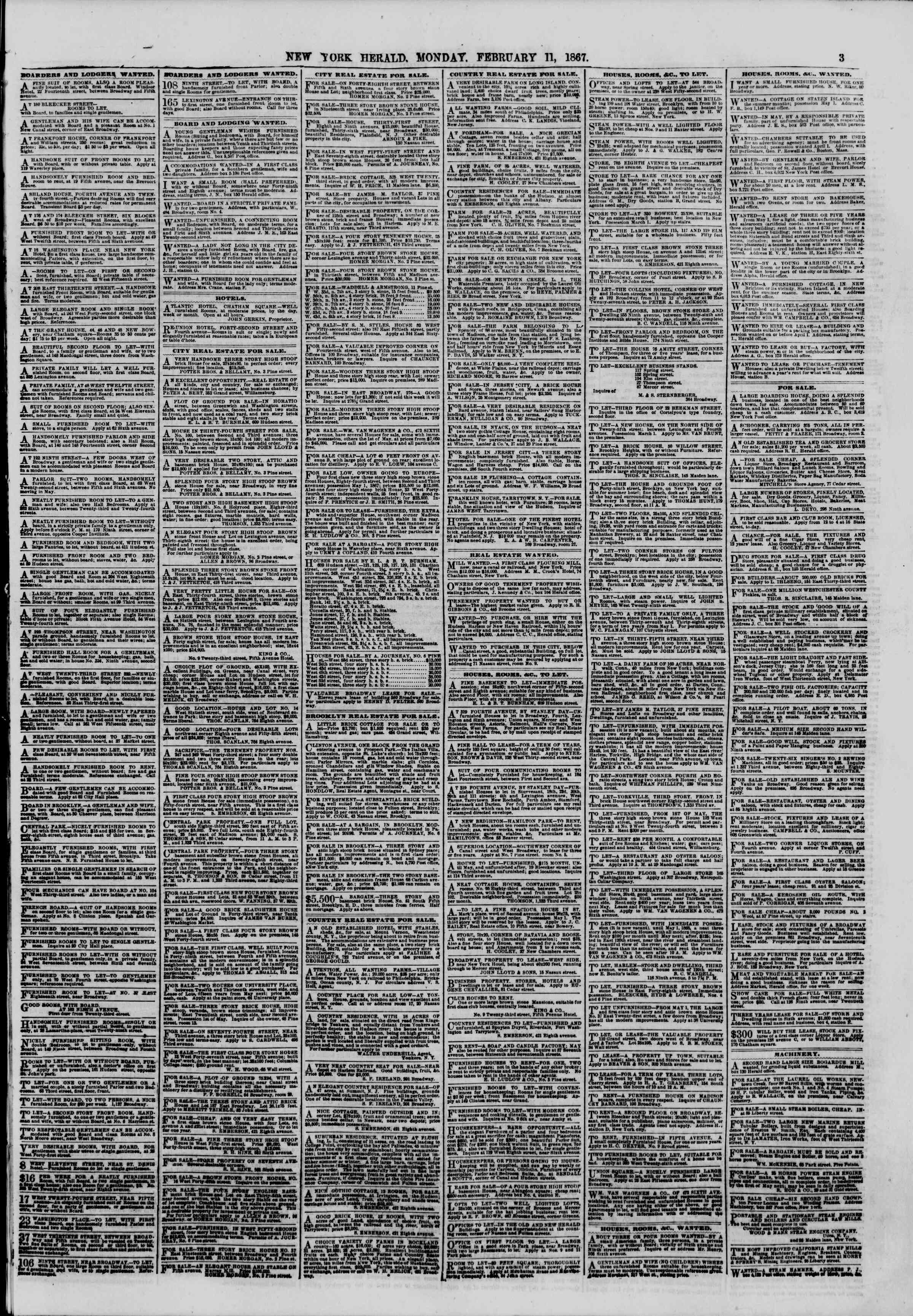Newspaper of The New York Herald dated February 11, 1867 Page 3