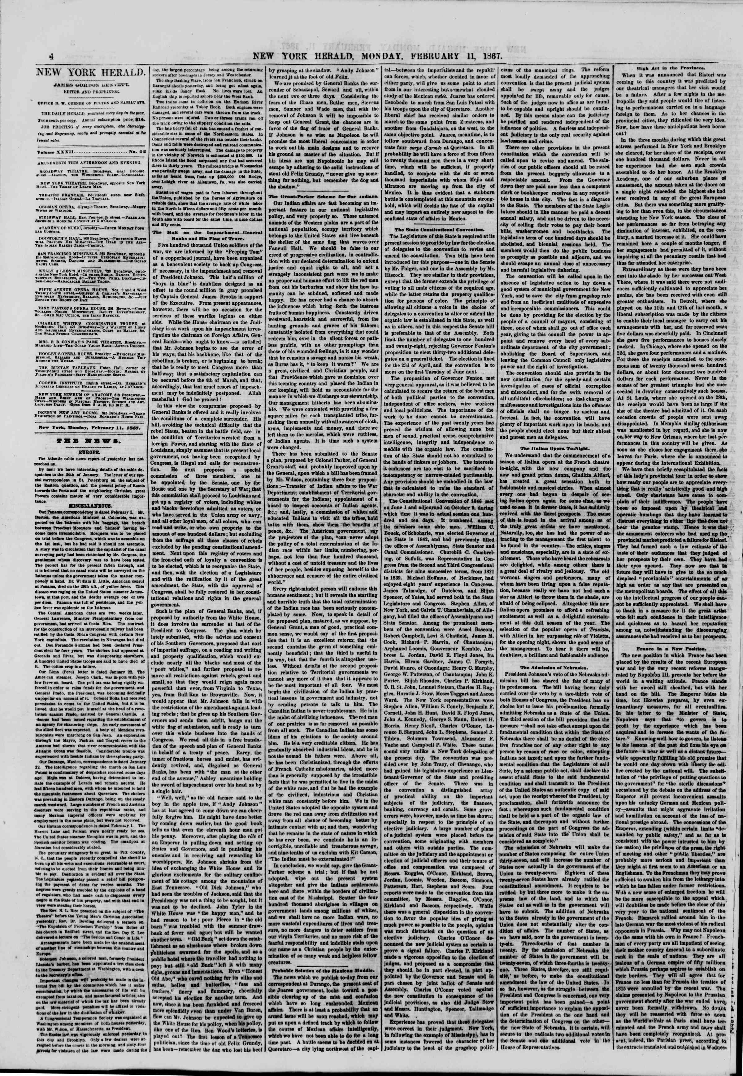 Newspaper of The New York Herald dated 11 Şubat 1867 Page 4