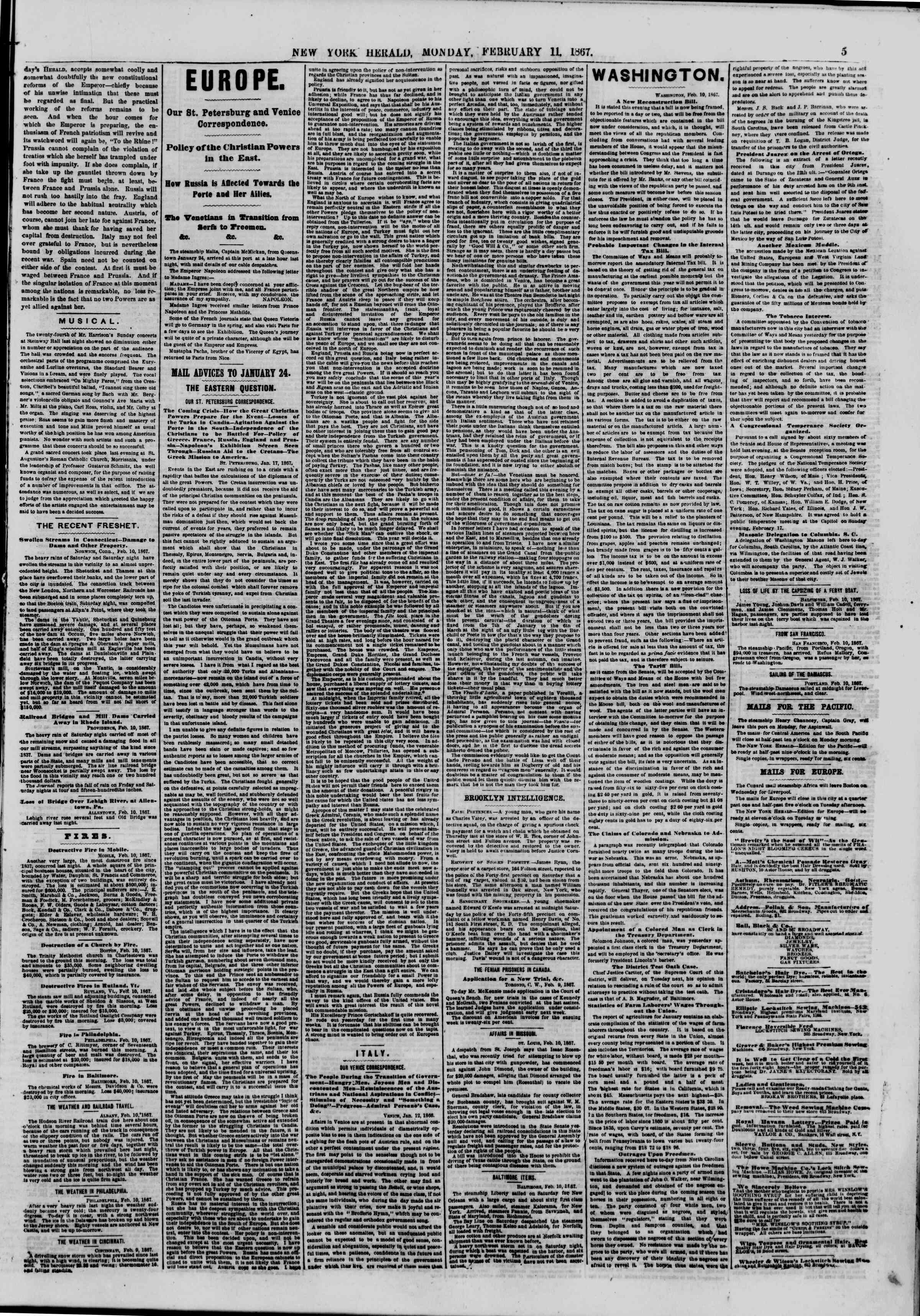 Newspaper of The New York Herald dated February 11, 1867 Page 5