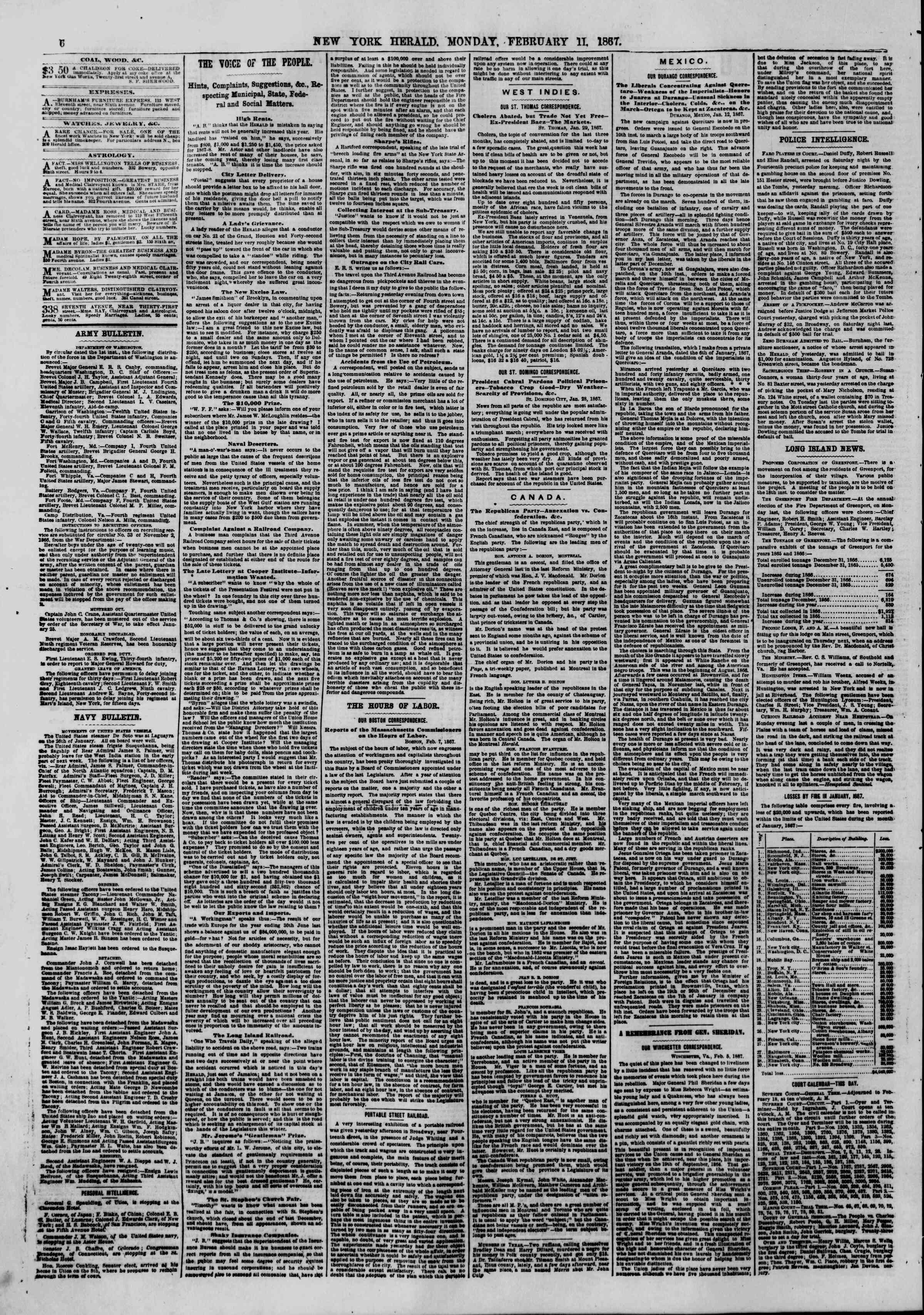 Newspaper of The New York Herald dated February 11, 1867 Page 6