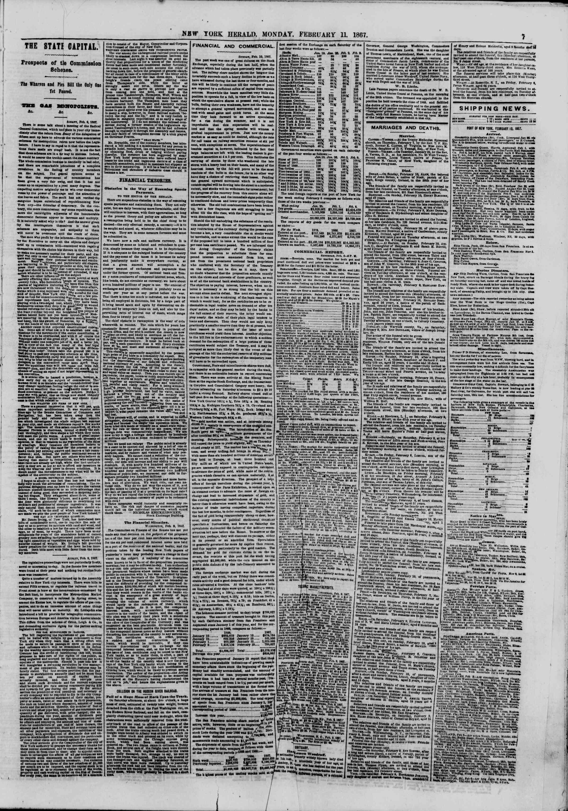 Newspaper of The New York Herald dated February 11, 1867 Page 7