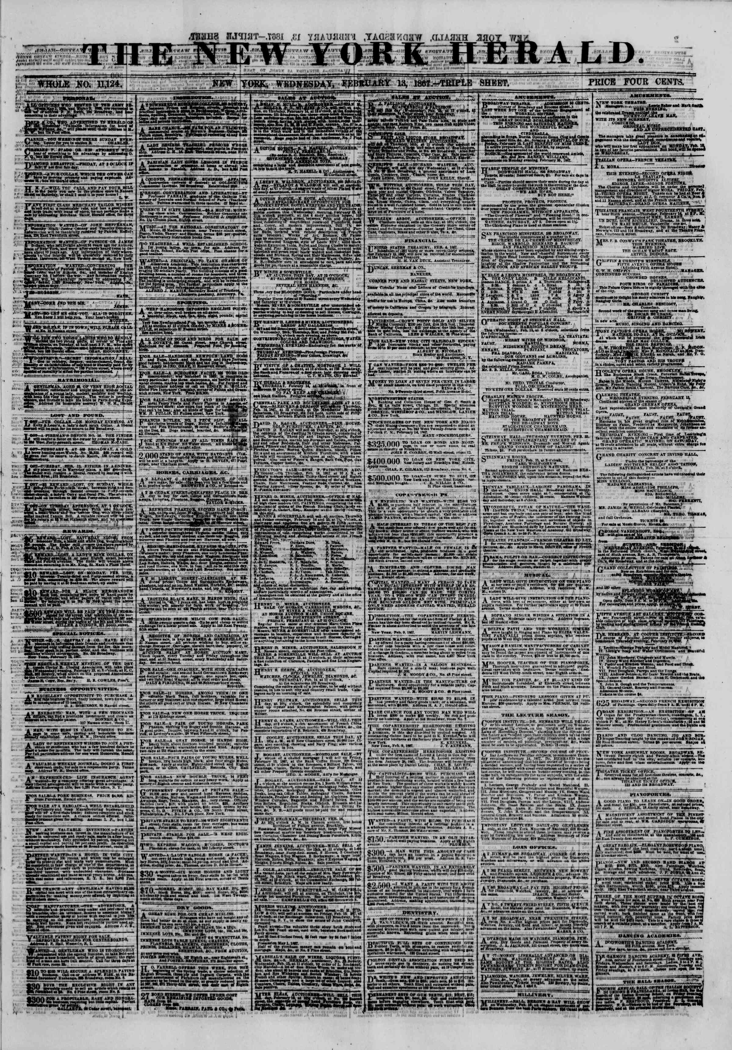 Newspaper of The New York Herald dated February 13, 1867 Page 1