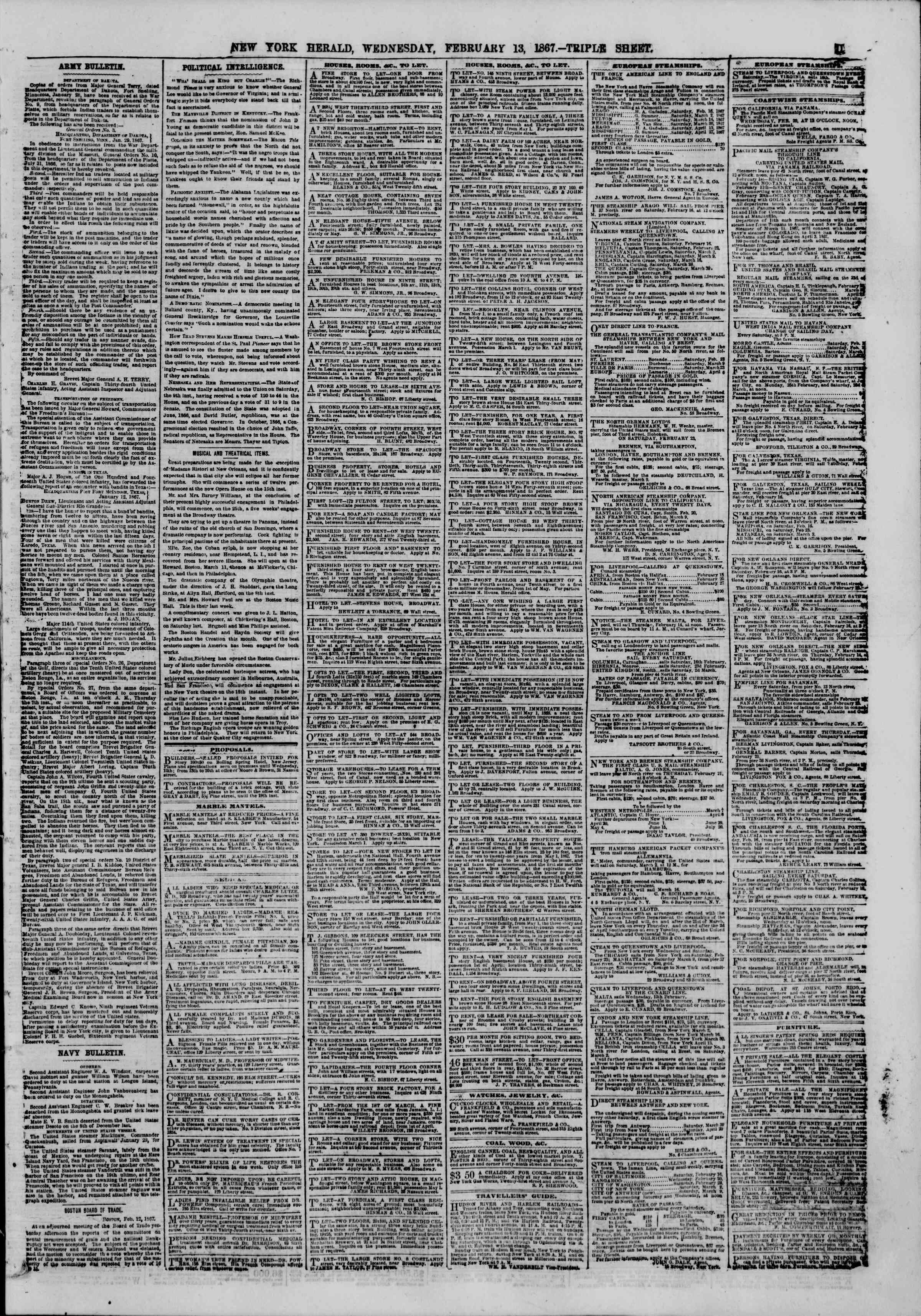 Newspaper of The New York Herald dated February 13, 1867 Page 11