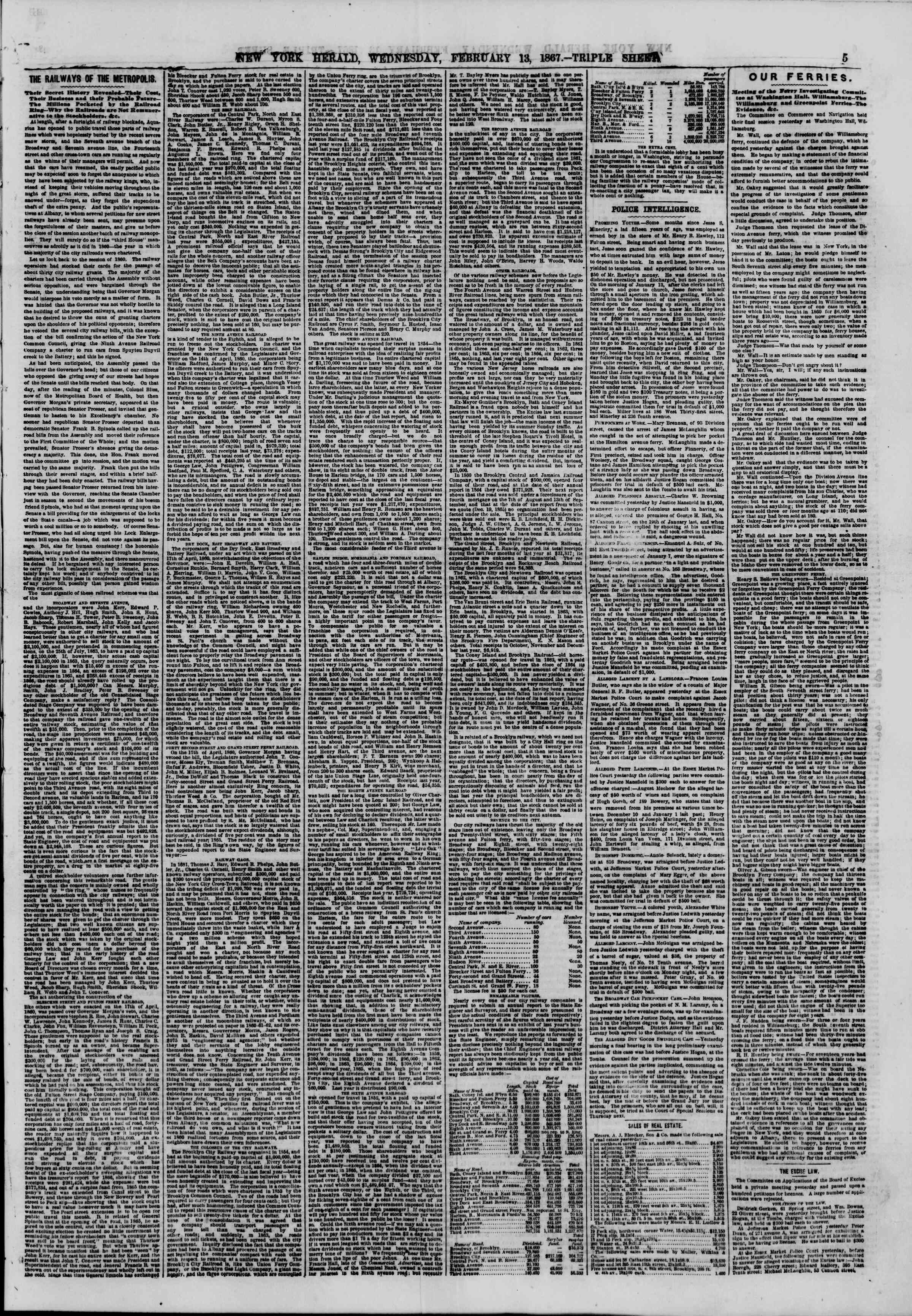 Newspaper of The New York Herald dated February 13, 1867 Page 5