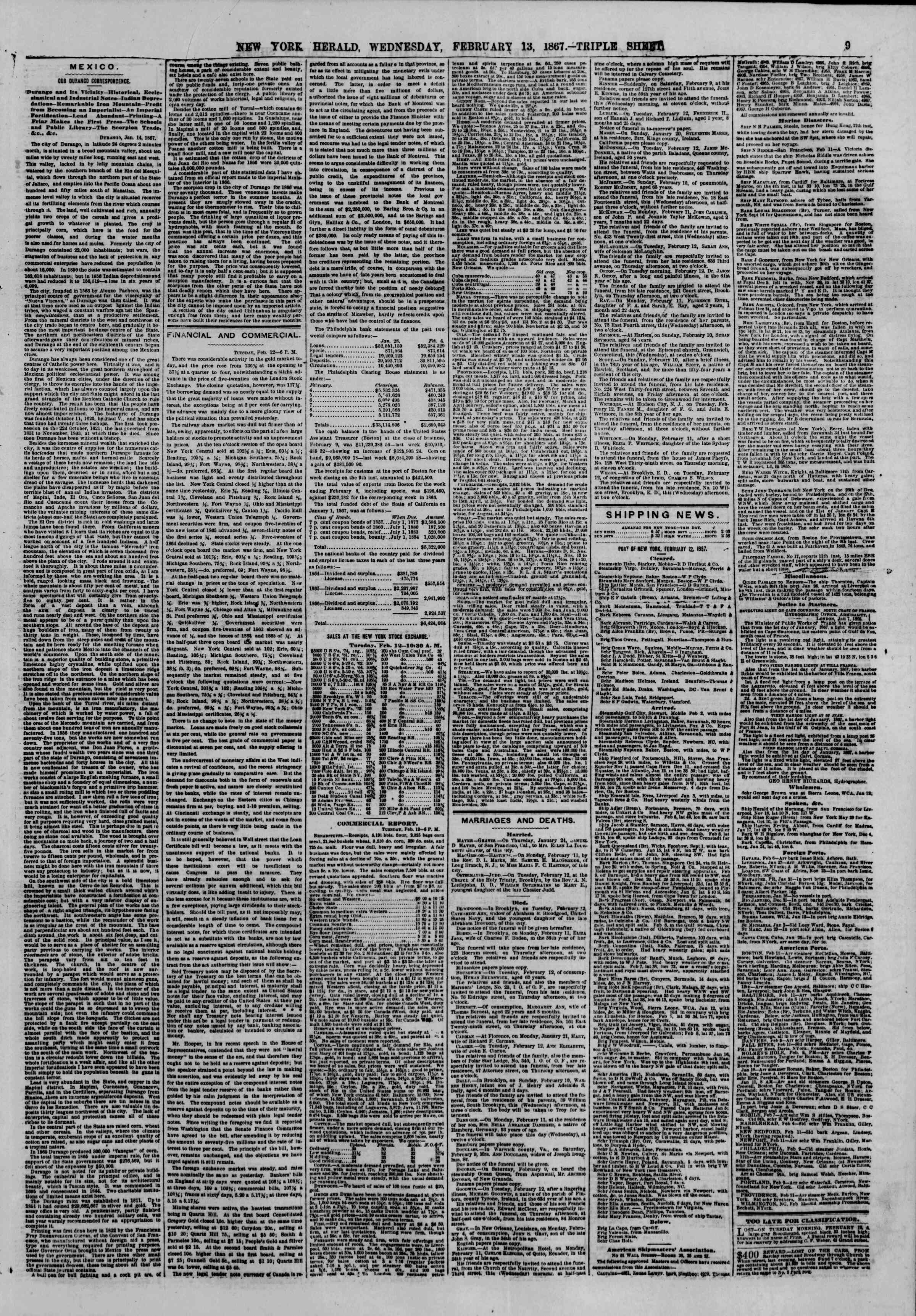 Newspaper of The New York Herald dated February 13, 1867 Page 9