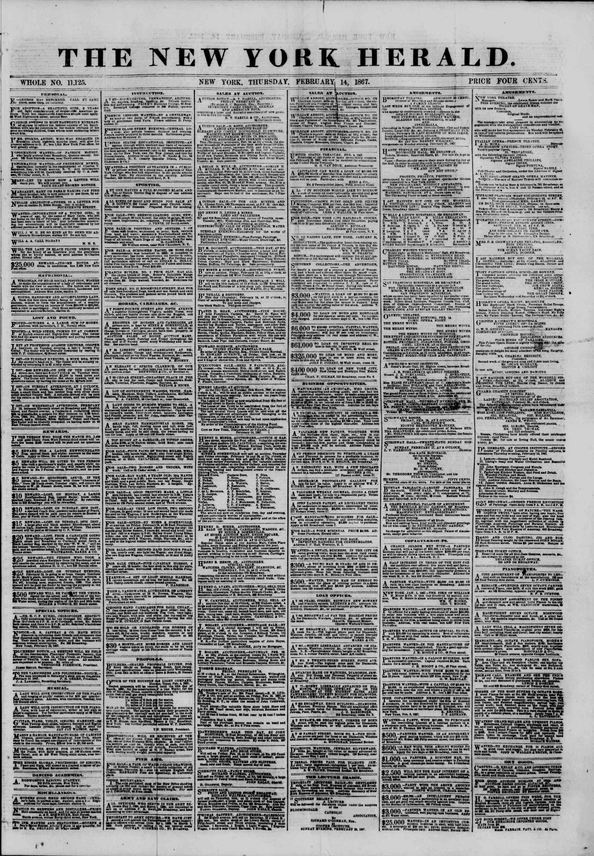 Newspaper of The New York Herald dated 14 Şubat 1867 Page 1