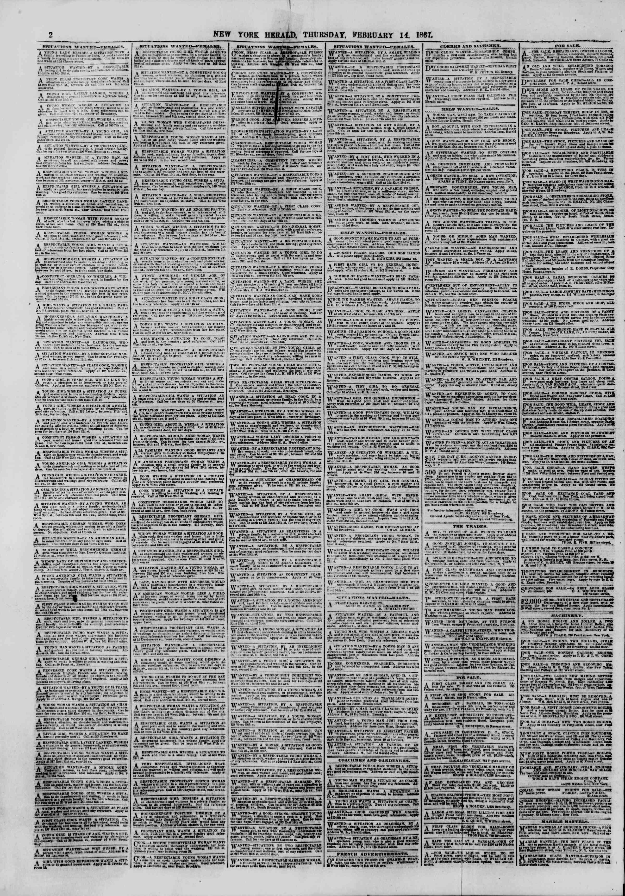 Newspaper of The New York Herald dated February 14, 1867 Page 2
