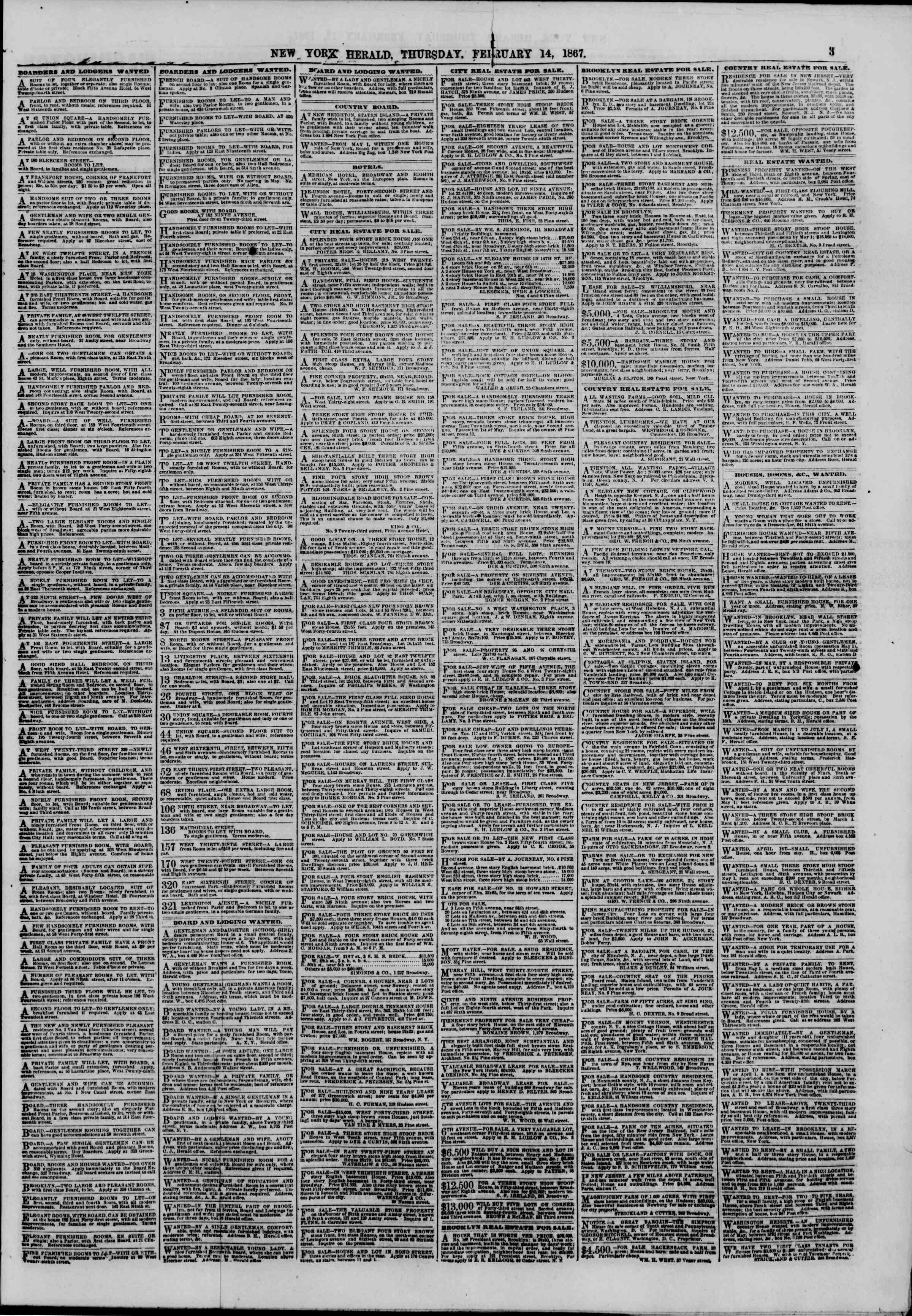 Newspaper of The New York Herald dated February 14, 1867 Page 3