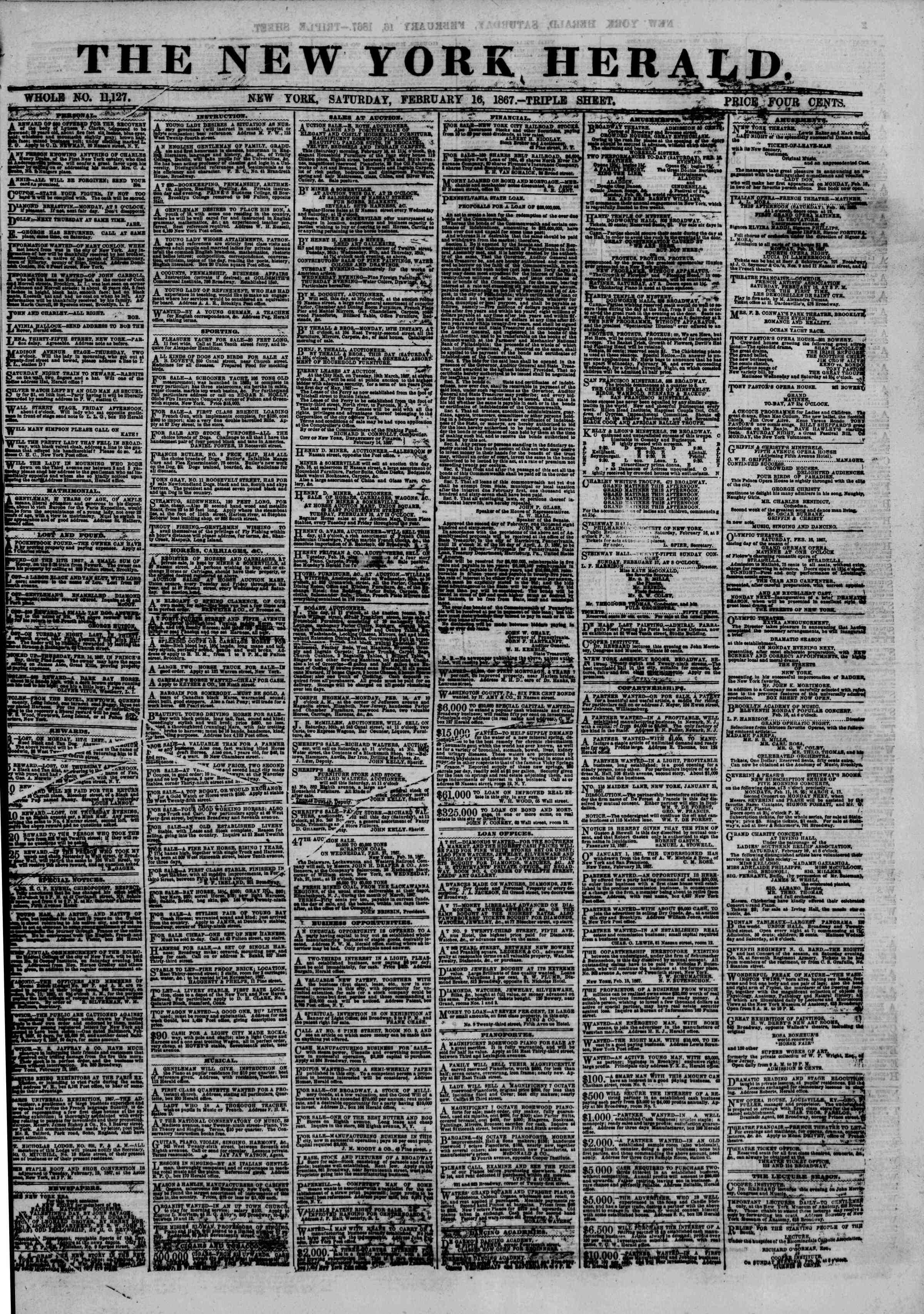 Newspaper of The New York Herald dated February 16, 1867 Page 1