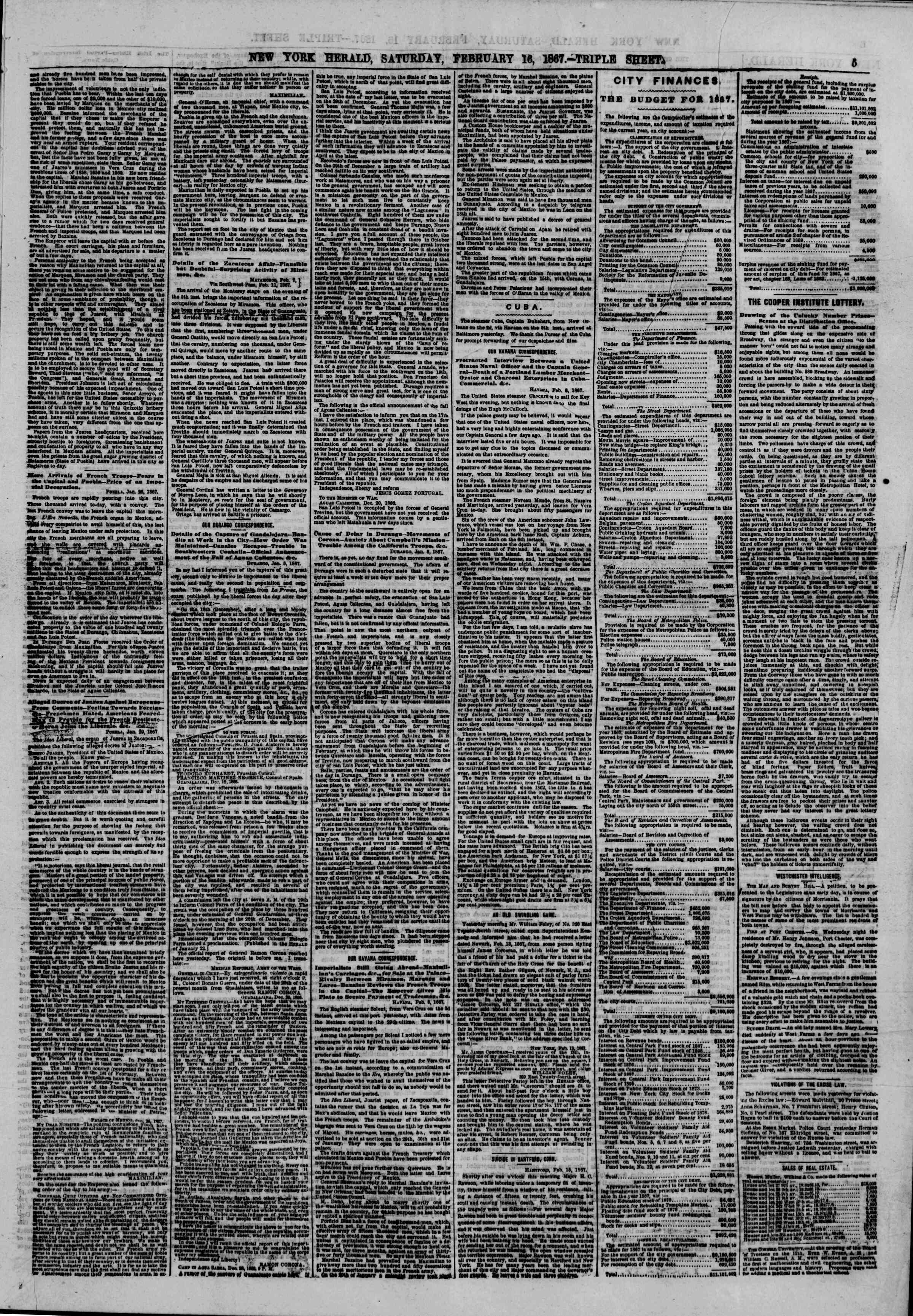 Newspaper of The New York Herald dated February 16, 1867 Page 5