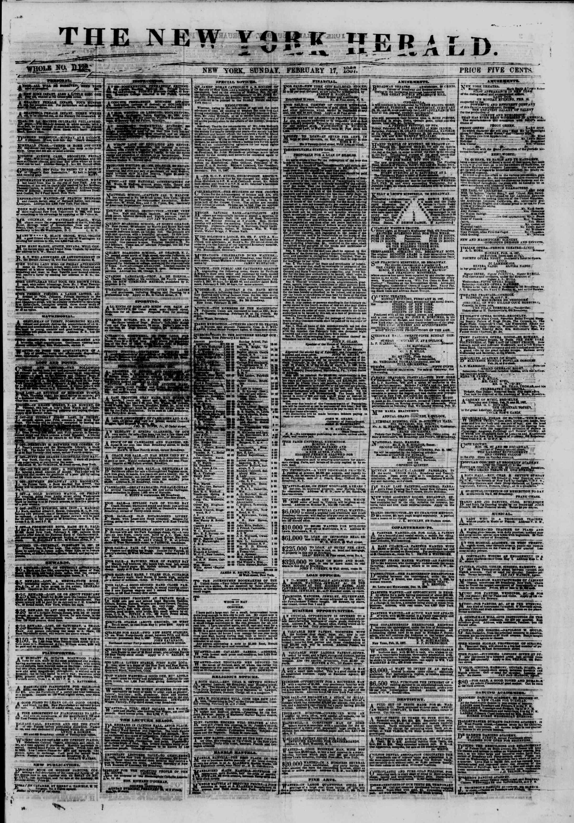 Newspaper of The New York Herald dated February 17, 1867 Page 1