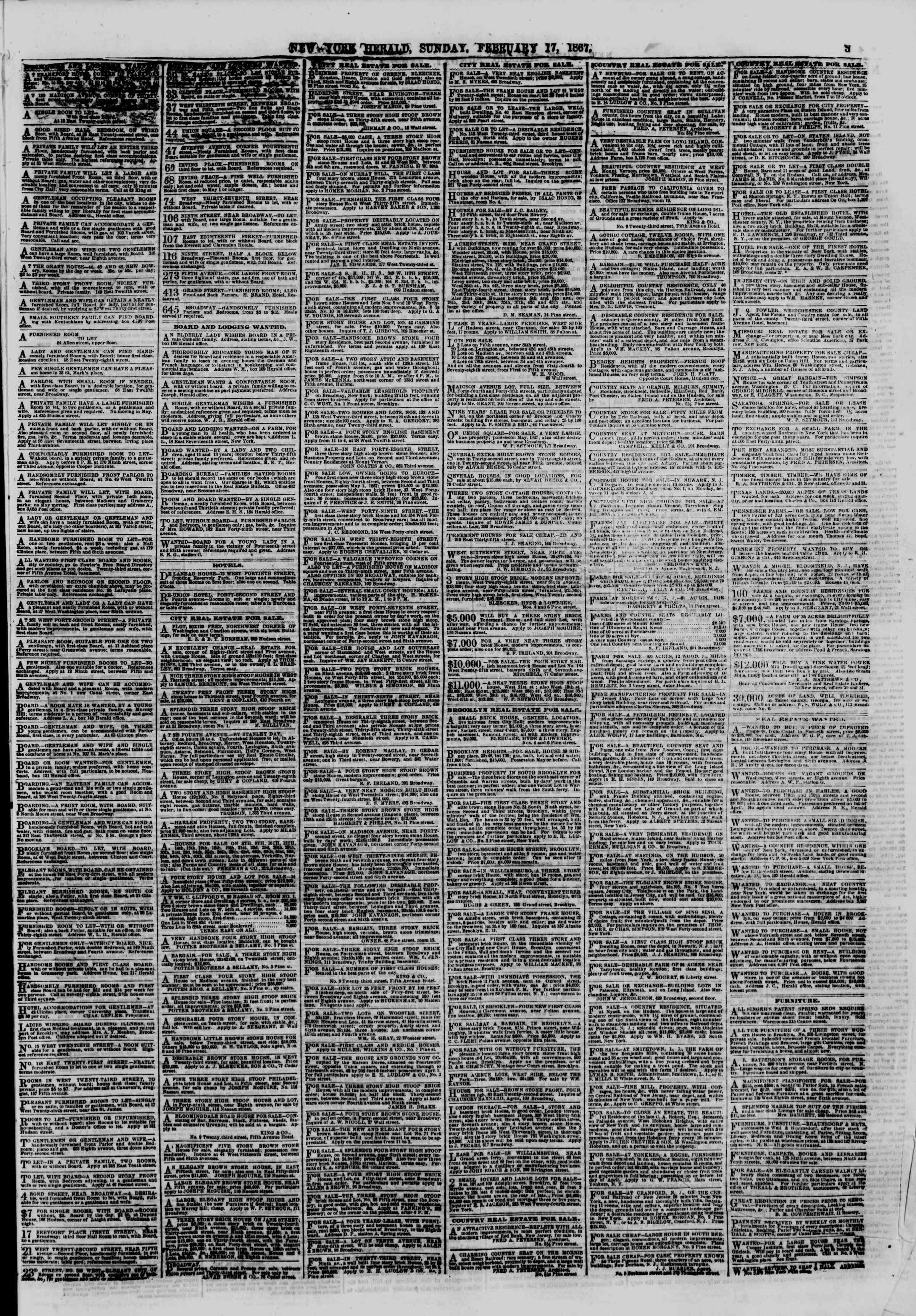 Newspaper of The New York Herald dated February 17, 1867 Page 3