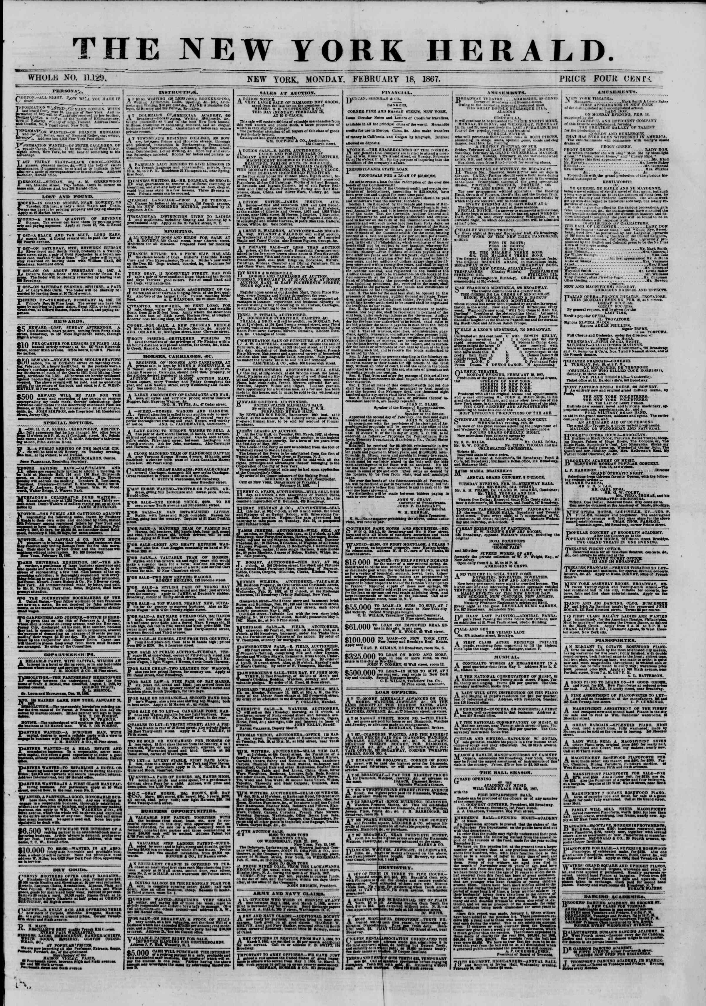 Newspaper of The New York Herald dated February 18, 1867 Page 1