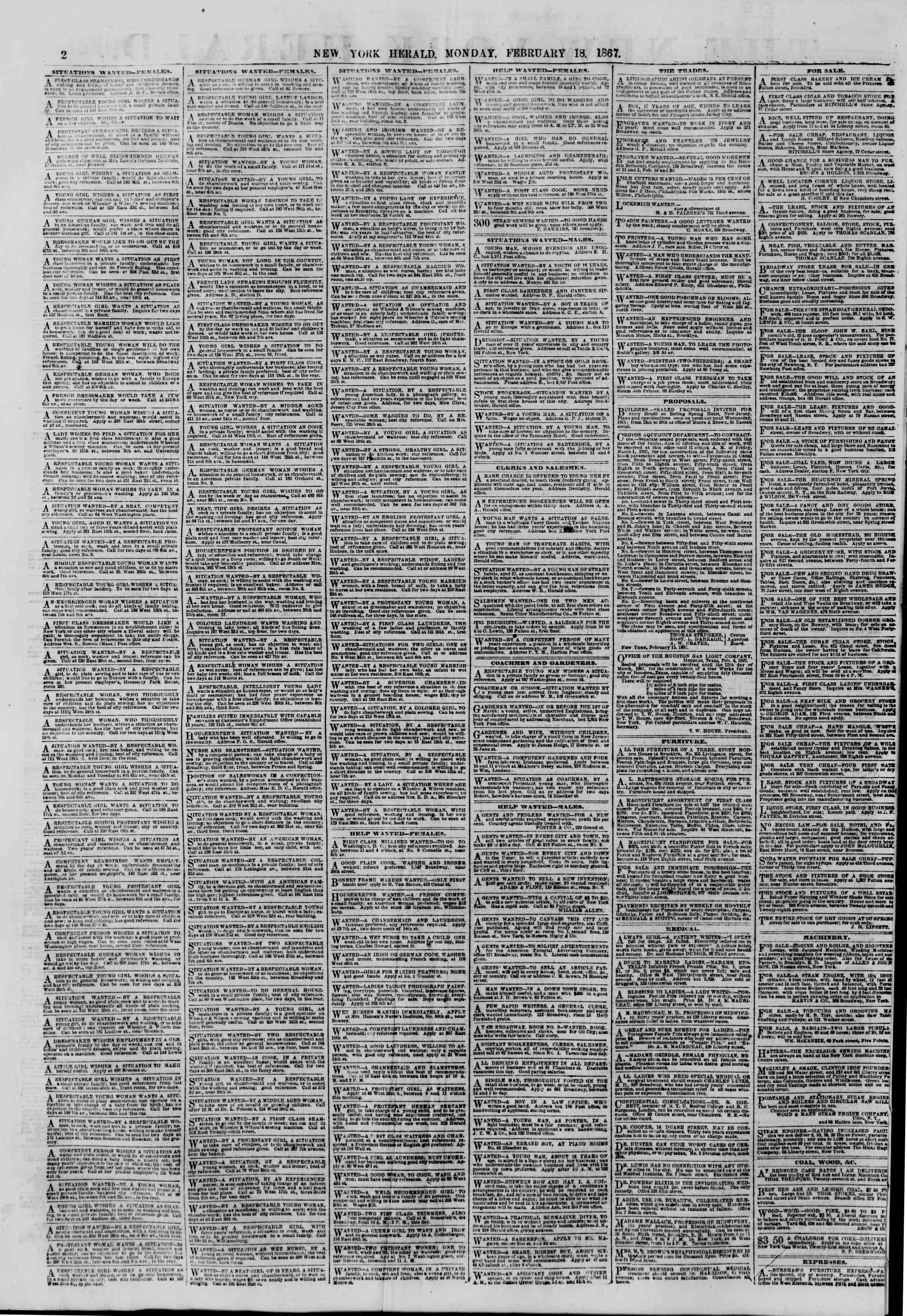 Newspaper of The New York Herald dated February 18, 1867 Page 2
