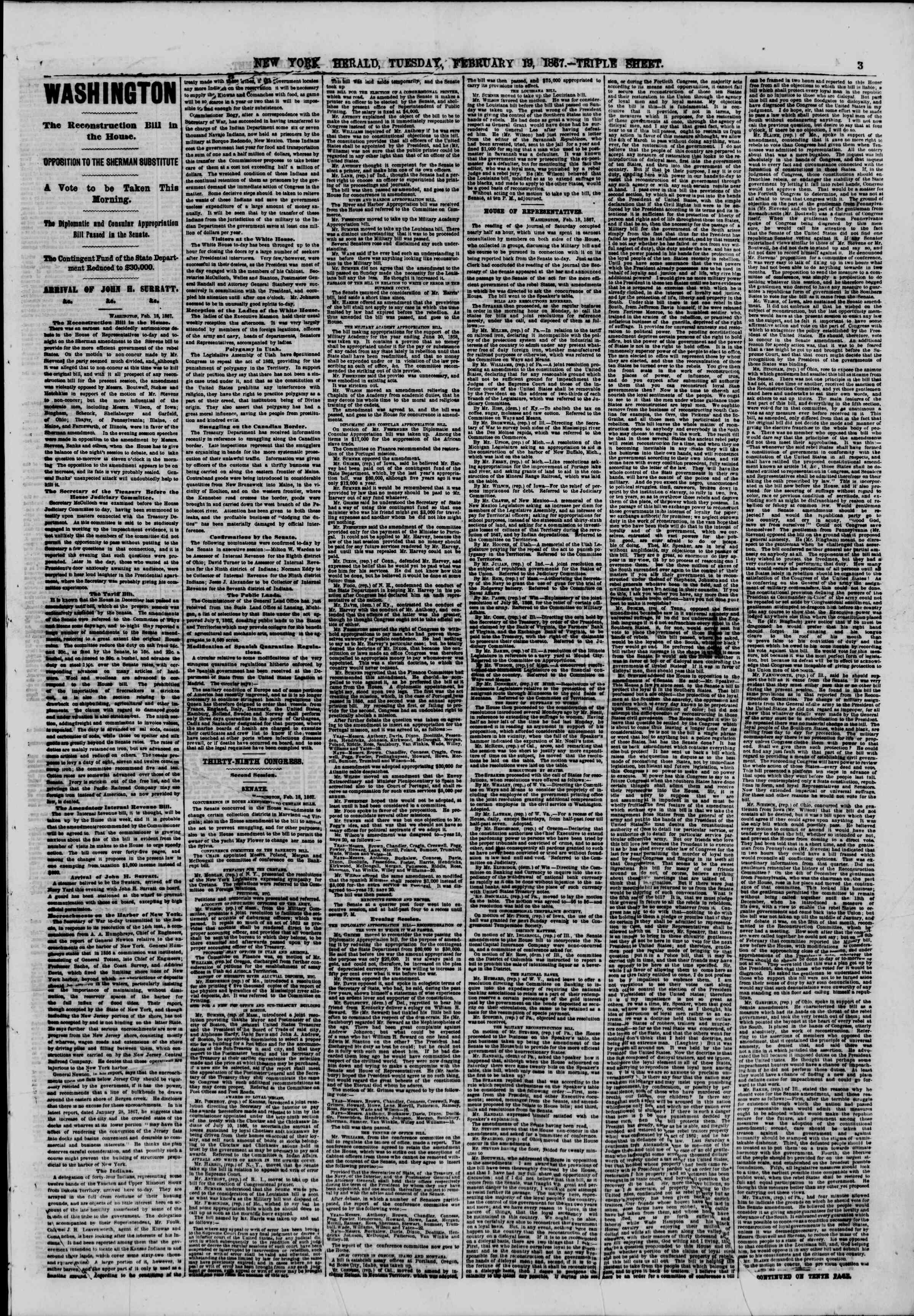 Newspaper of The New York Herald dated February 19, 1867 Page 3